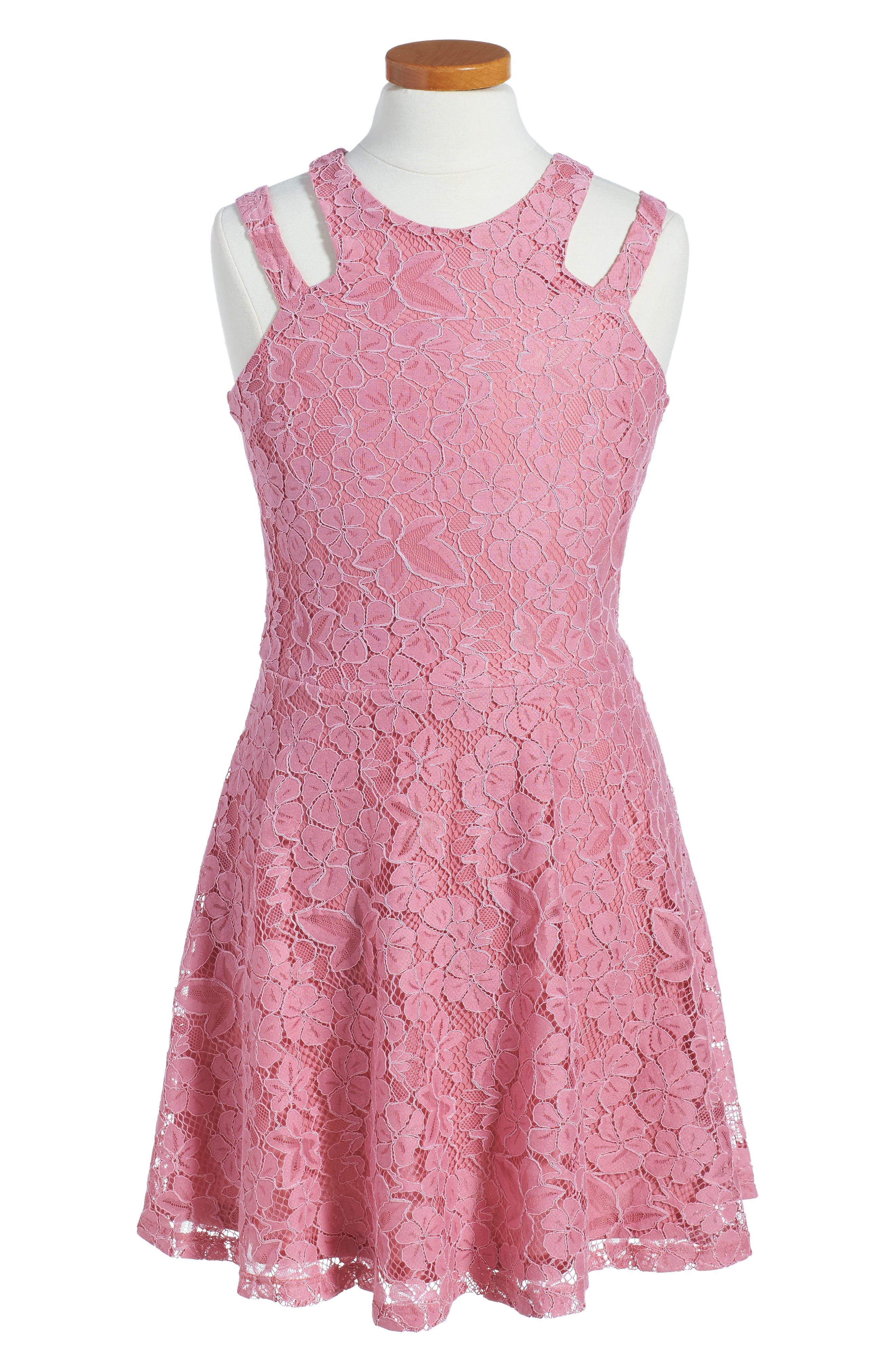 Lace Sleeveless Dress,                         Main,                         color, Mauve
