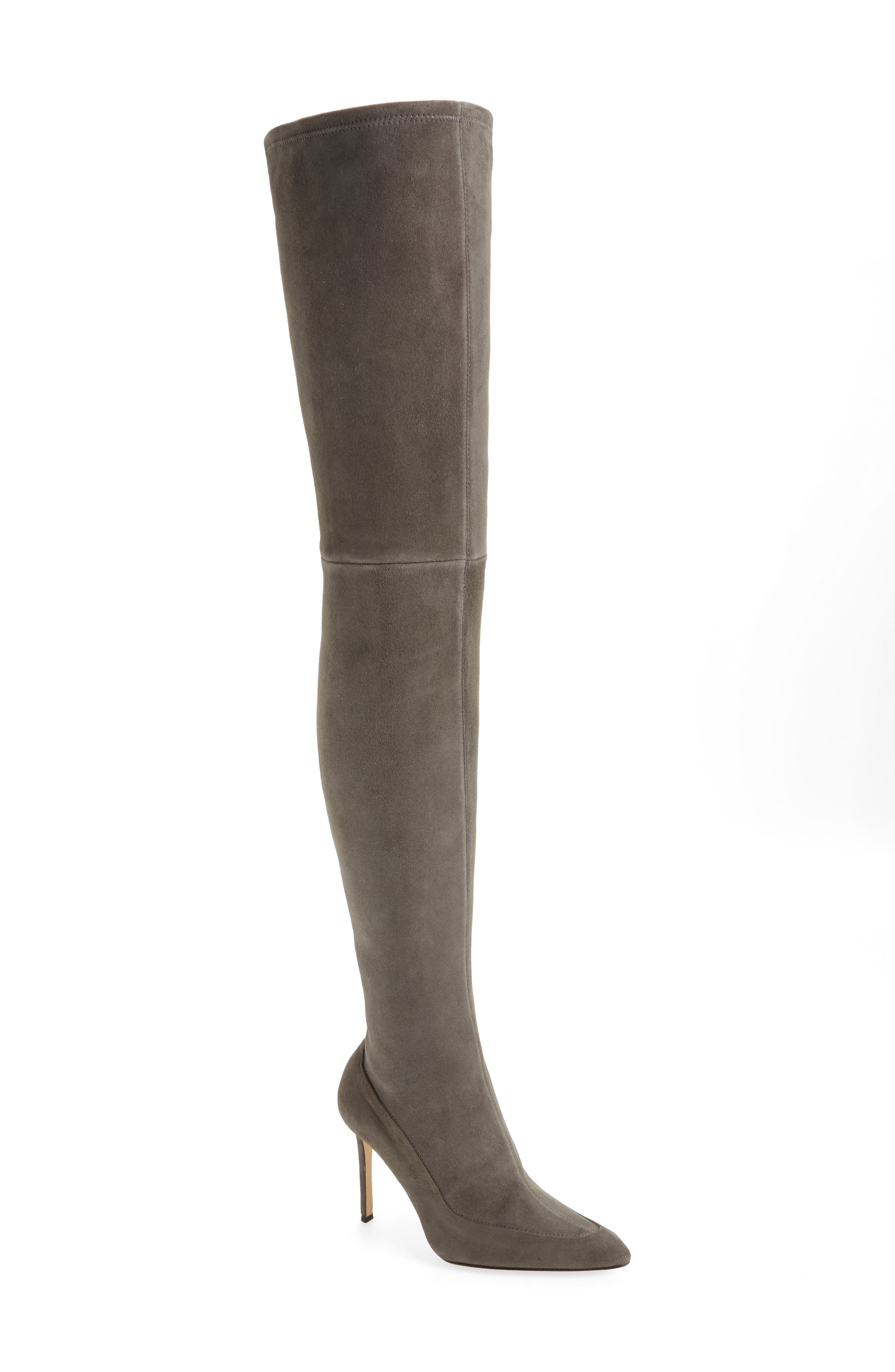 Cassie Thigh High Boot,                         Main,                         color, Anthracite Suede