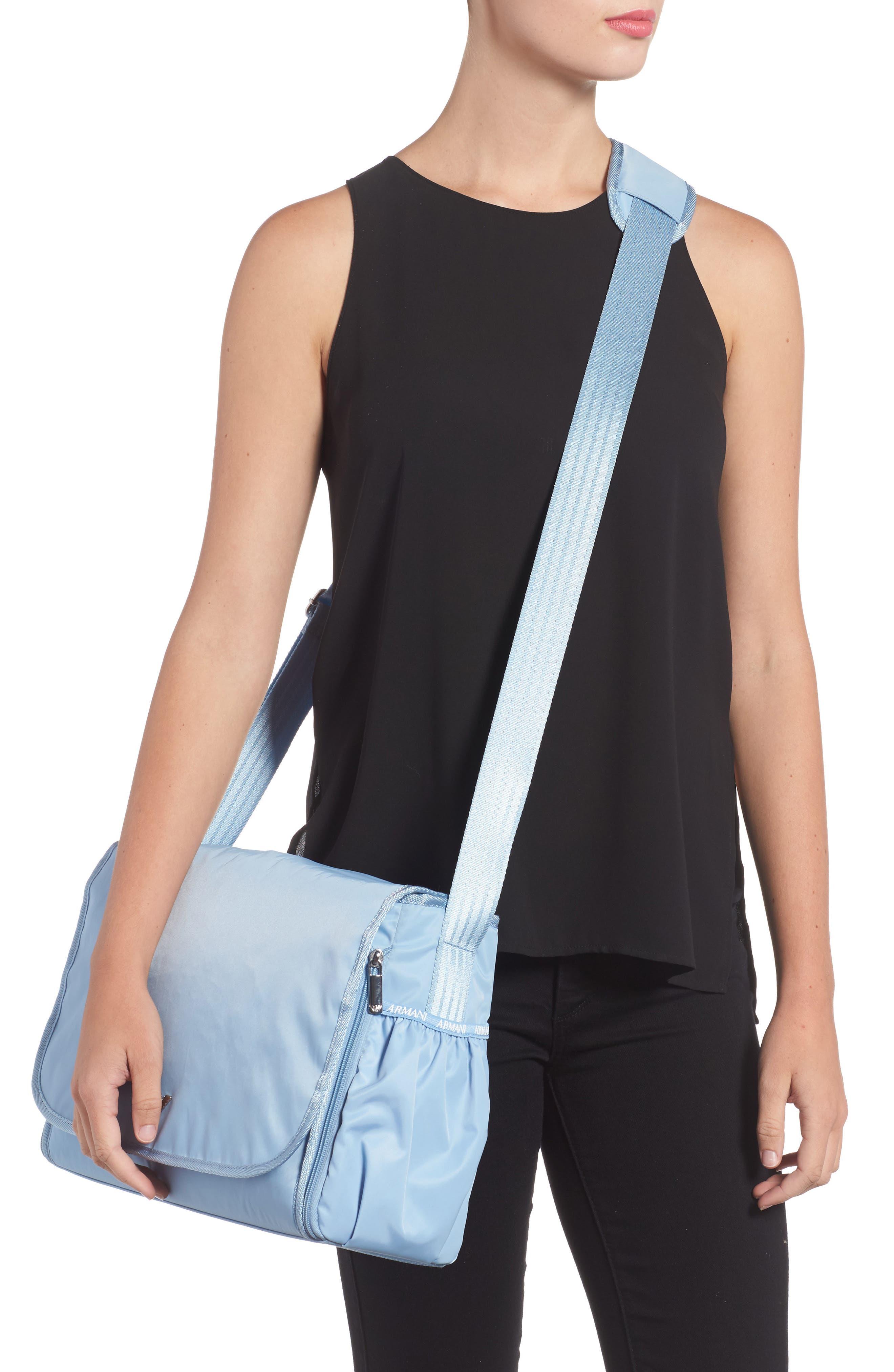 Nylon Messenger Diaper Bag,                             Alternate thumbnail 2, color,                             Light Blue