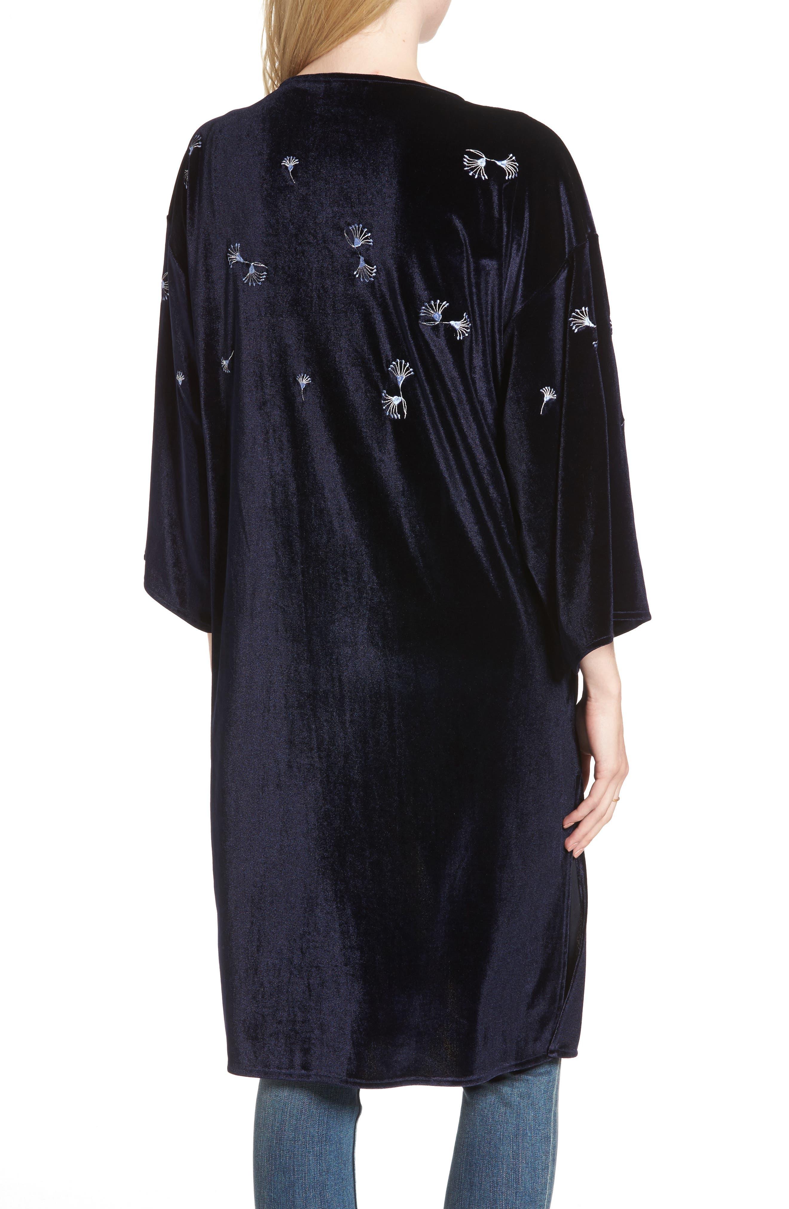 Alternate Image 2  - Treasure & Bond Embroidered Velvet Kimono