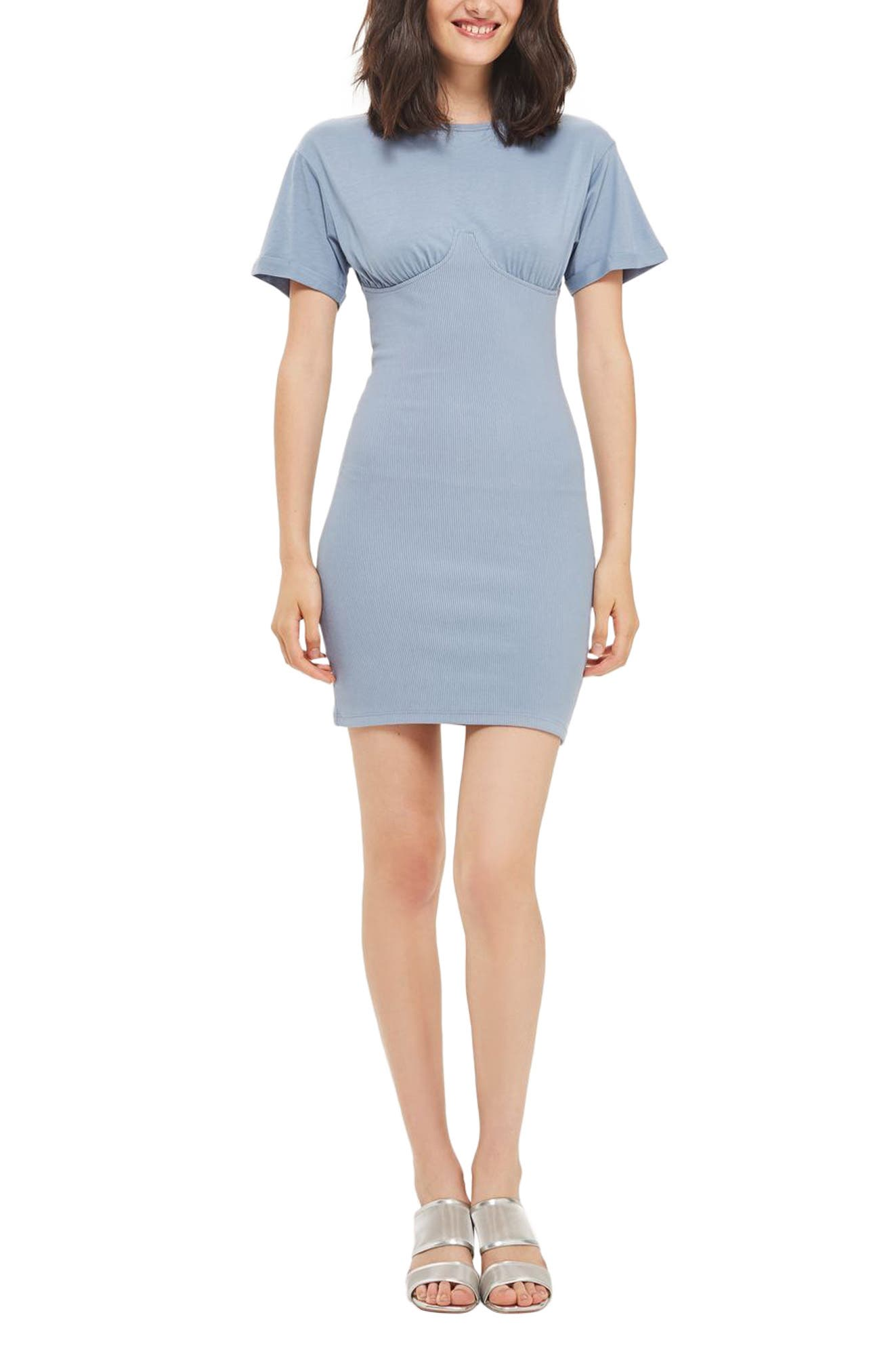 TOPSHOP Bustcup Ribbed T-Shirt Dress