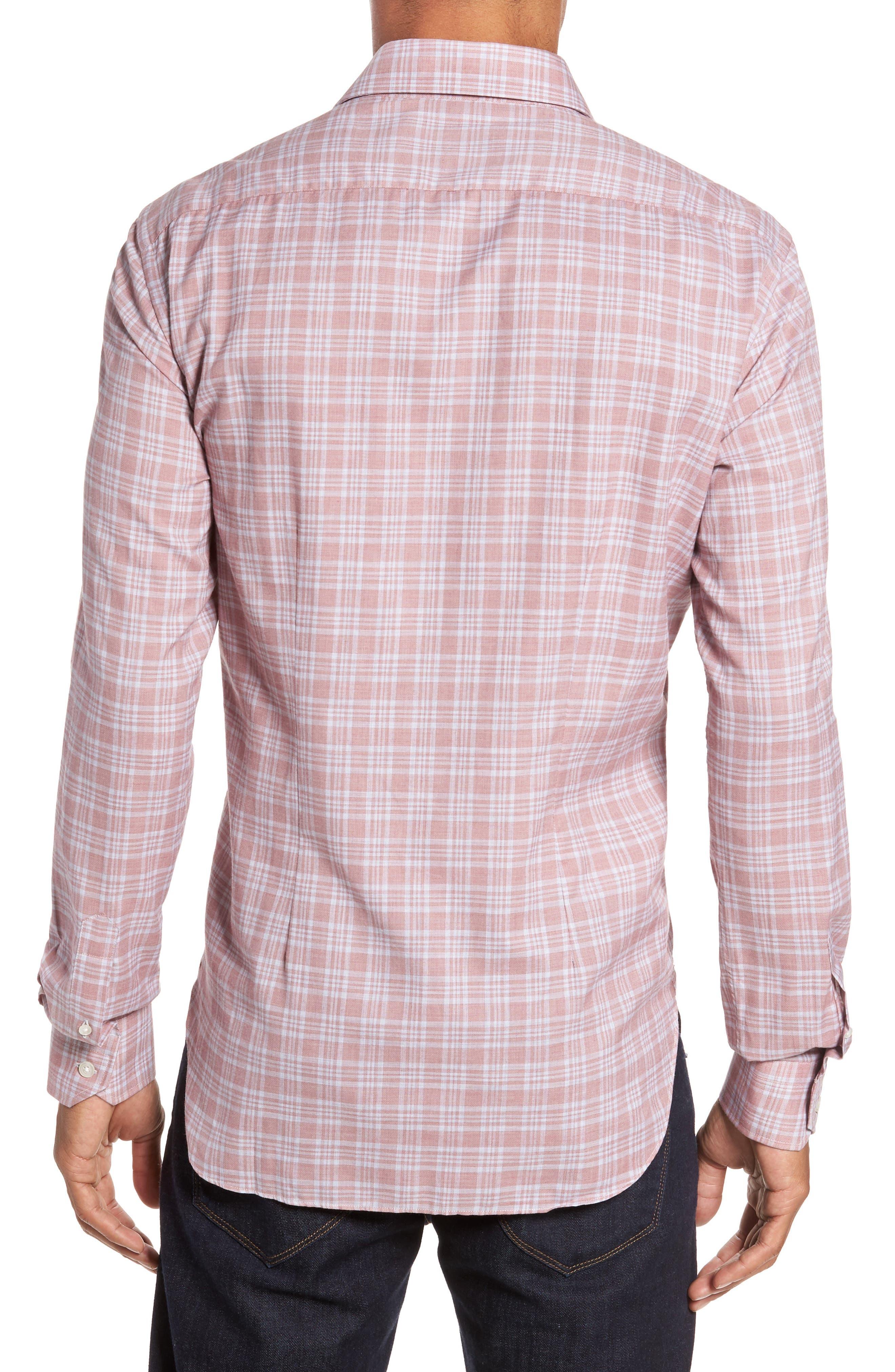 Slim Fit Plaid Sport Shirt,                             Alternate thumbnail 2, color,                             Pink