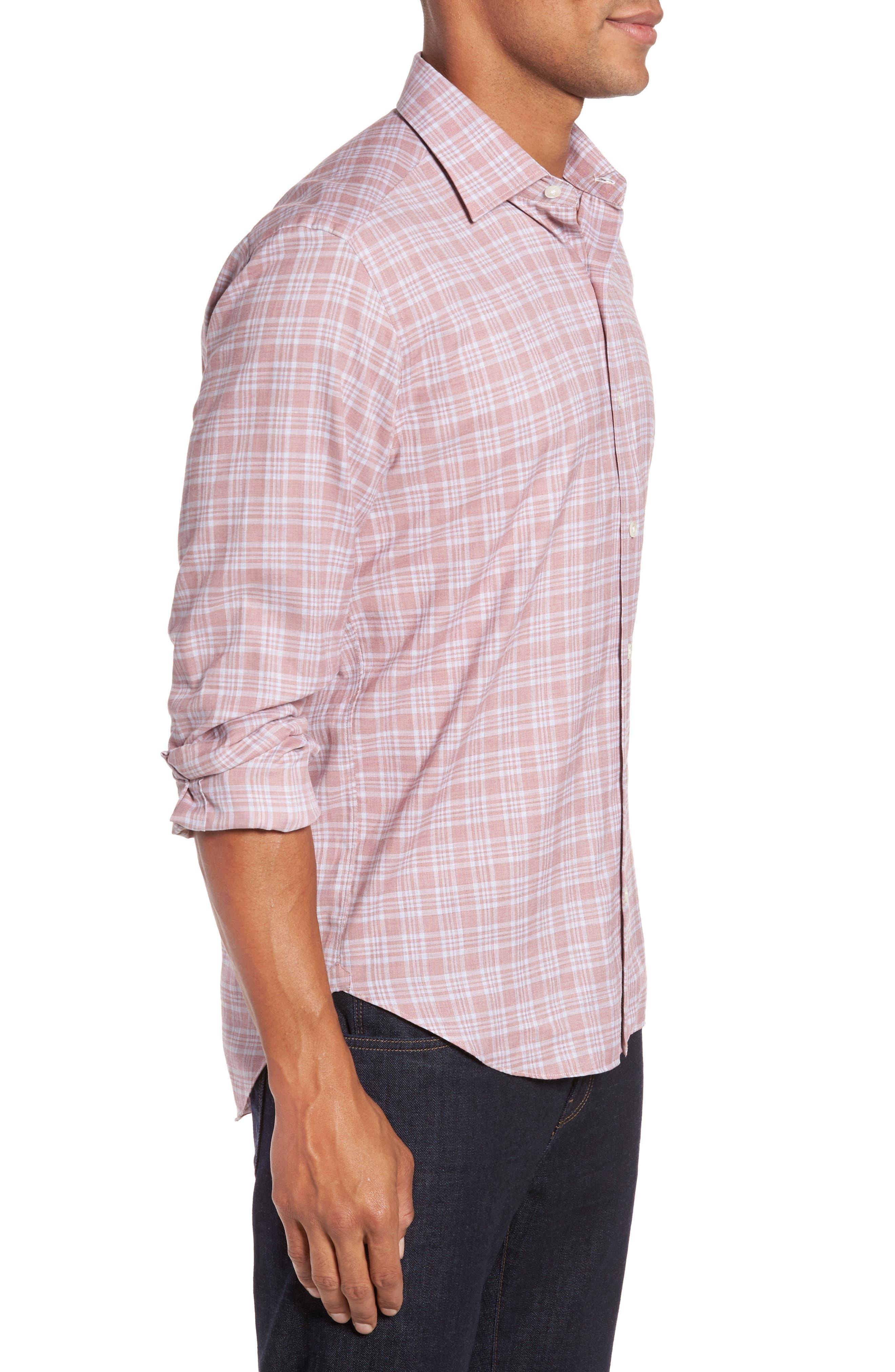 Slim Fit Plaid Sport Shirt,                             Alternate thumbnail 3, color,                             Pink