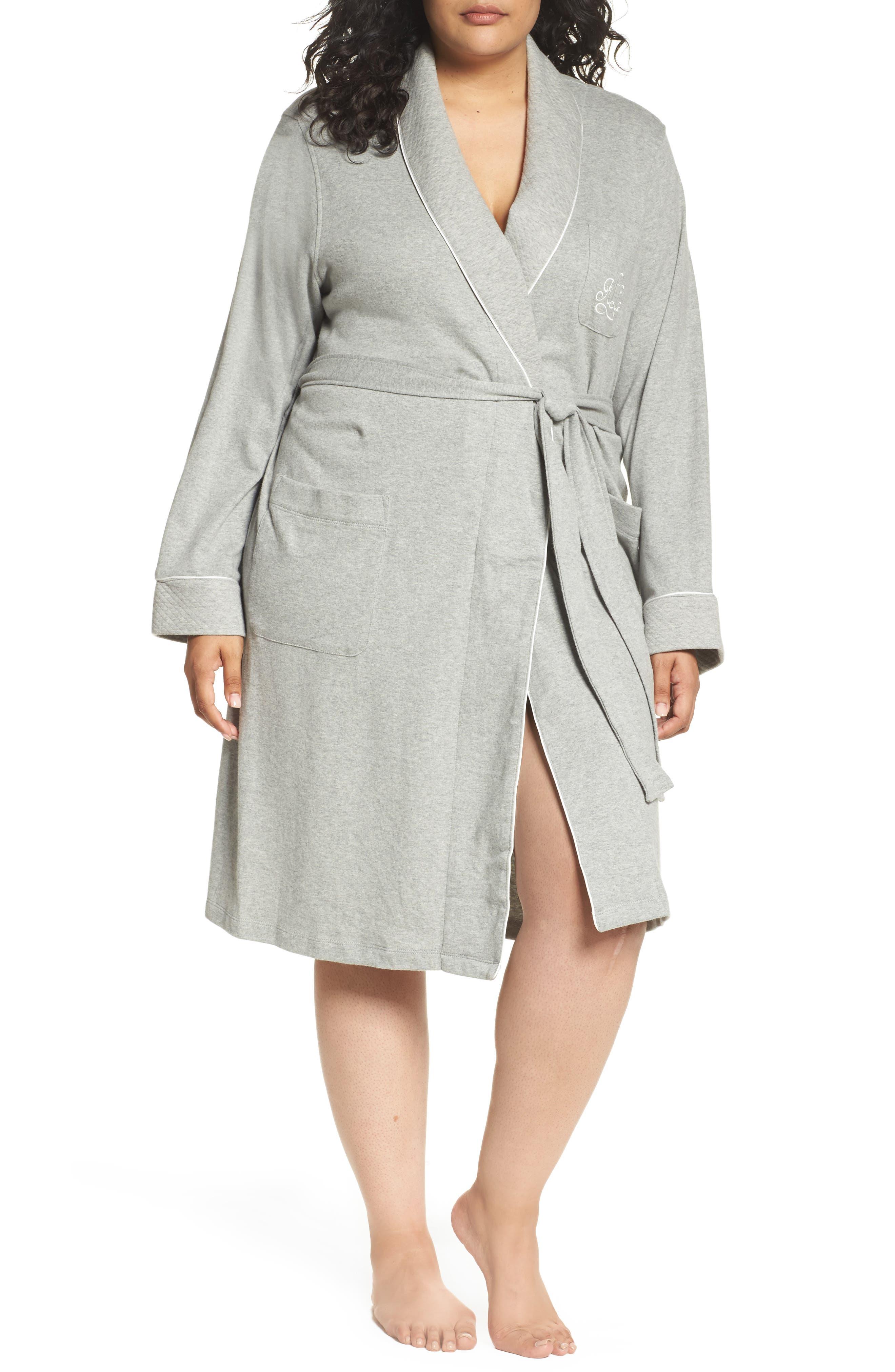 Shawl Collar Robe,                         Main,                         color, Heather Grey