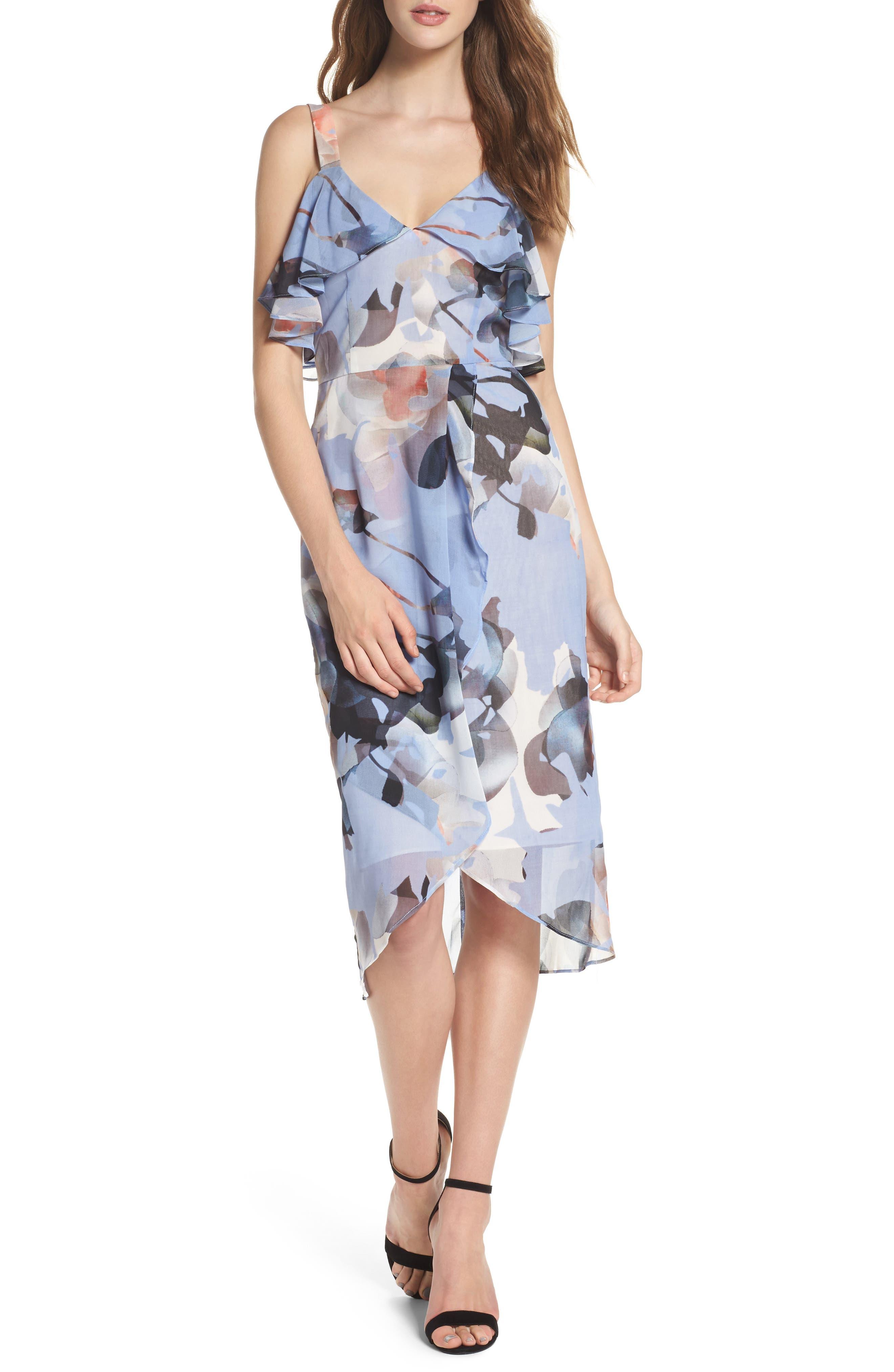 Elle Midi Dress,                             Main thumbnail 1, color,                             Print