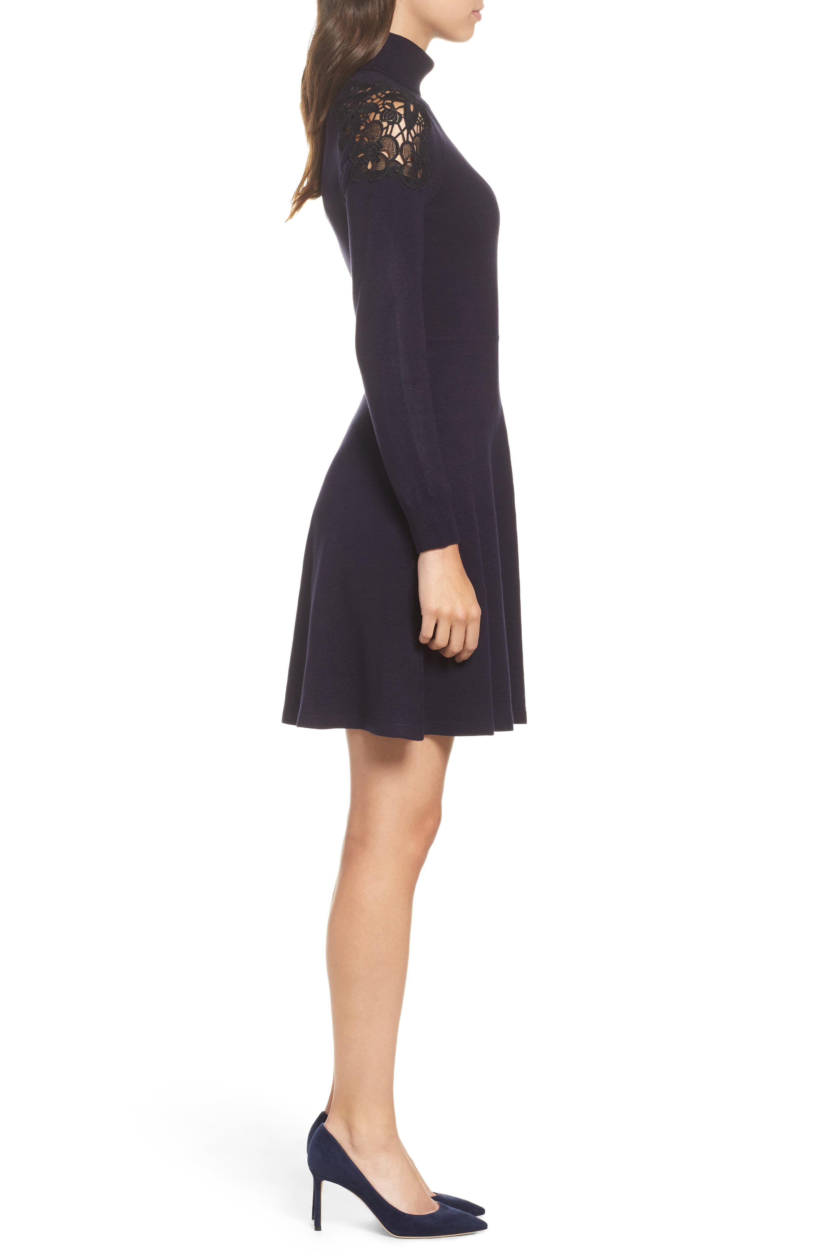 Lace Shoulder Turtleneck Sweater Dress,                             Alternate thumbnail 3, color,                             Navy