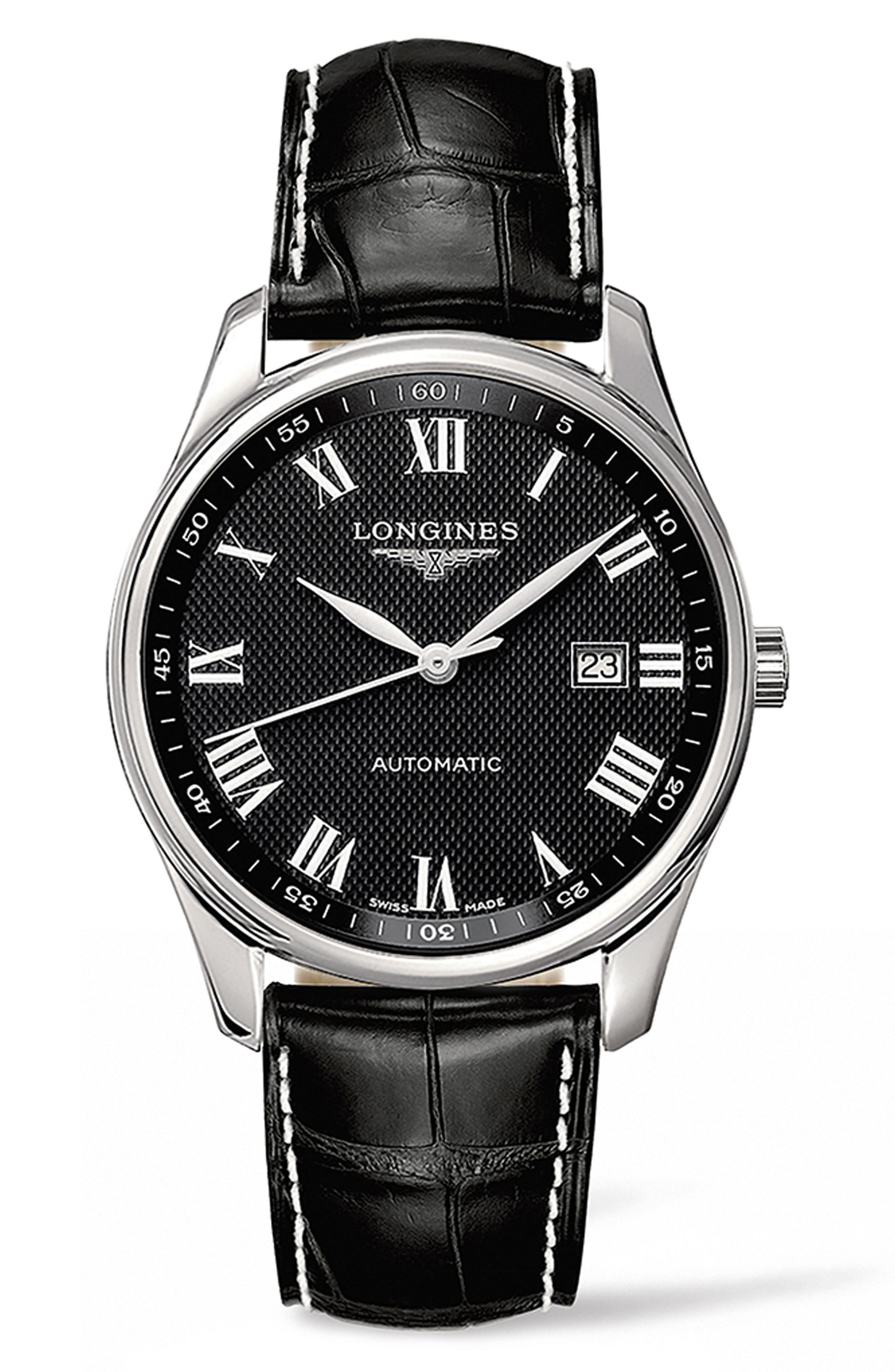 Master Automatic Leather Strap Watch, 42mm,                         Main,                         color, Black/ Silver