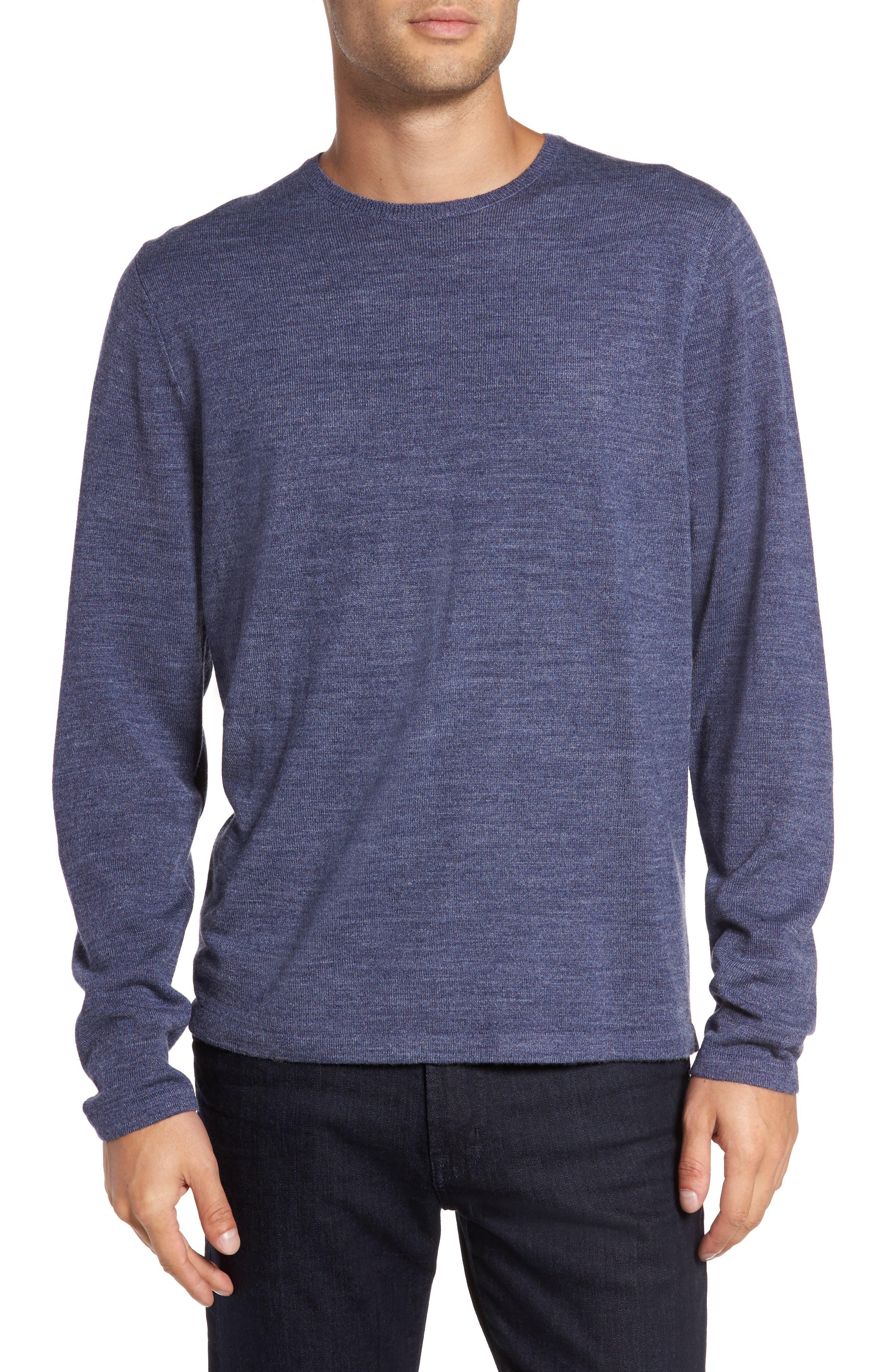 Merino Blend Crewneck Sweater,                         Main,                         color, Blue Ensign Heather