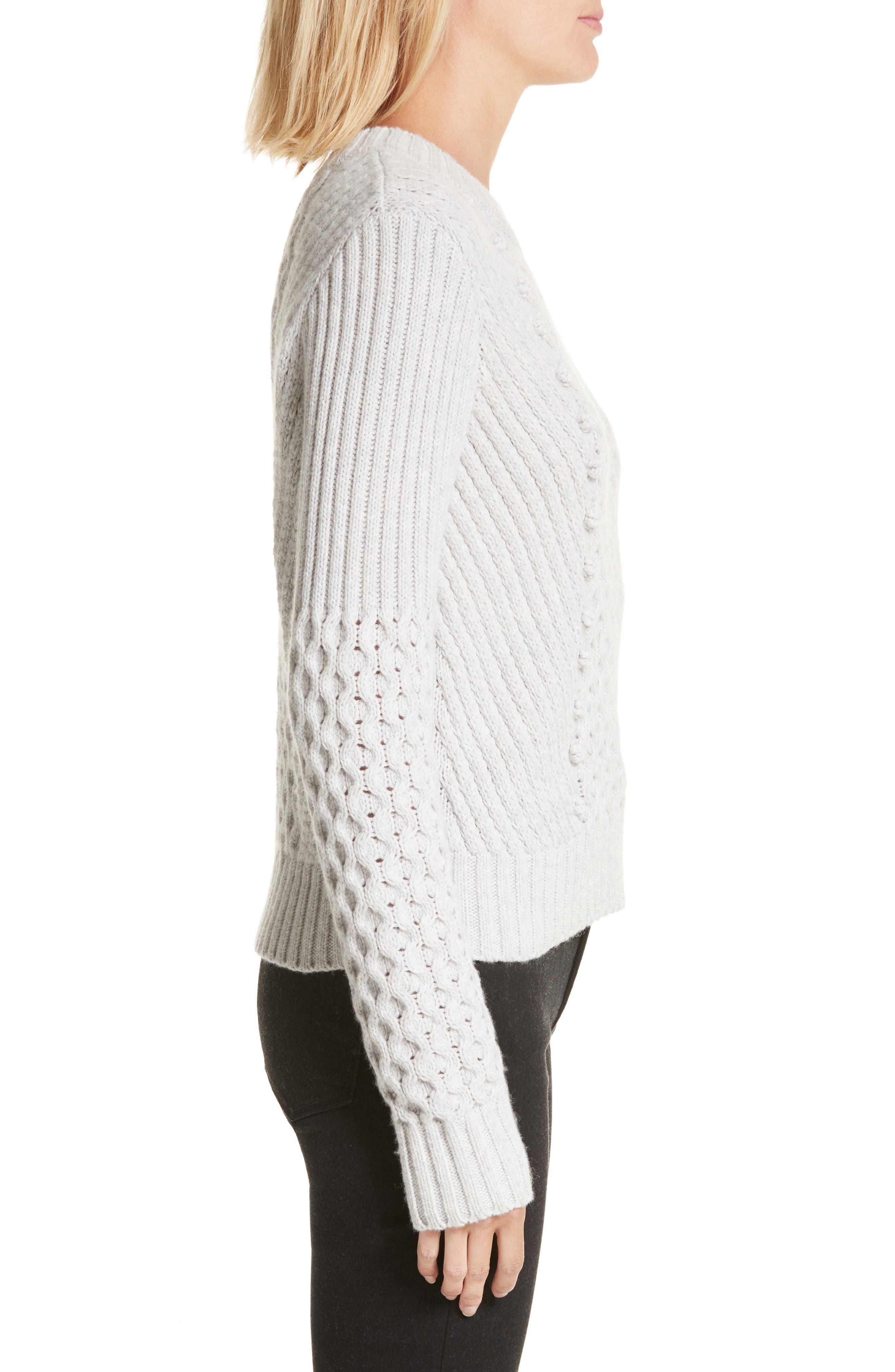 Honeycomb Stitch Sweater,                             Alternate thumbnail 3, color,                             Light Grey Heather
