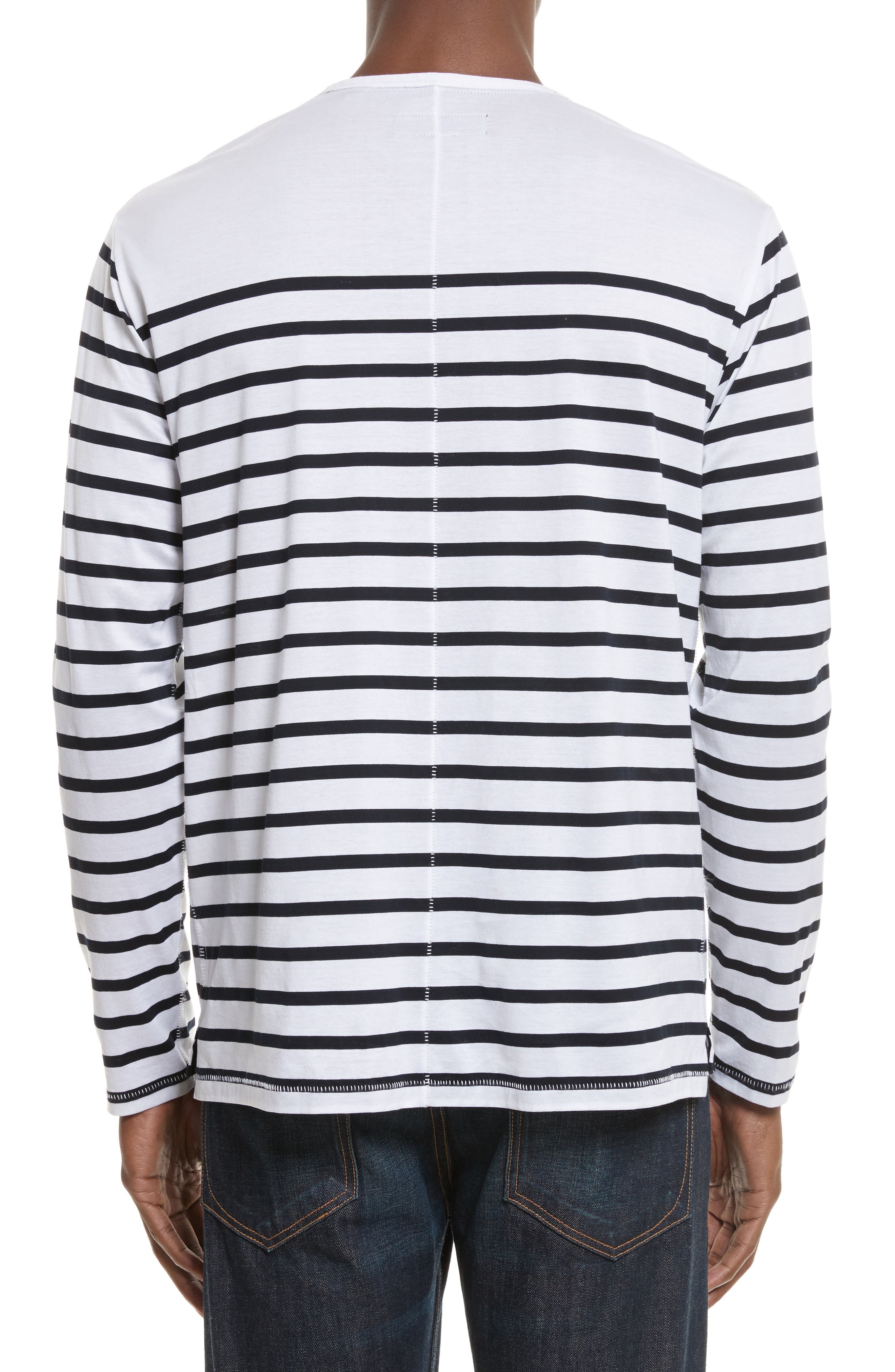 Henry Stripe Long Sleeve T-Shirt,                             Alternate thumbnail 2, color,                             White/ Navy