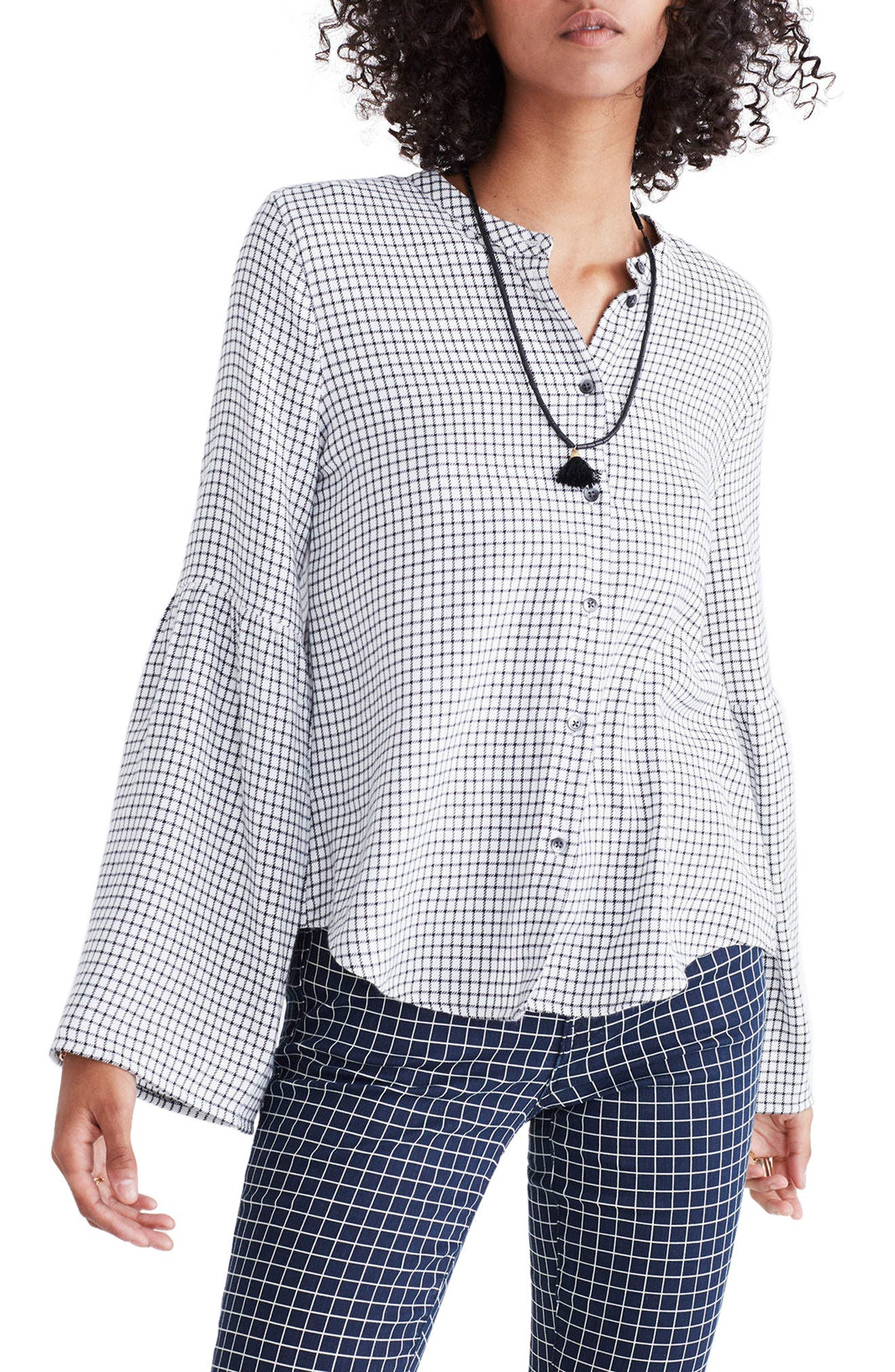 Bell Sleeve Plaid Shirt,                         Main,                         color, Bright Ivory