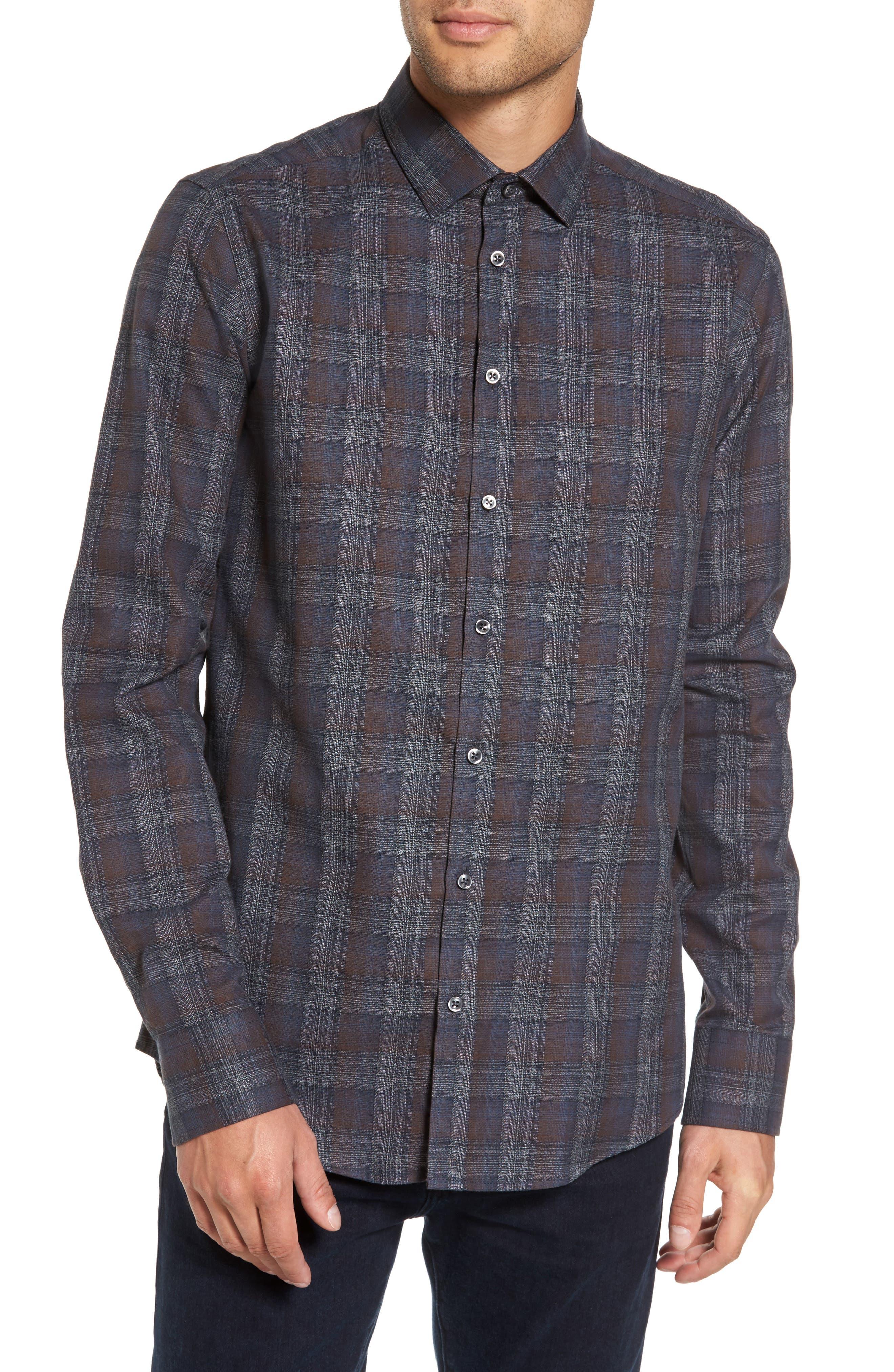 Trim Fit Plaid Sport Shirt,                         Main,                         color, 290 Brown Grey Plaid