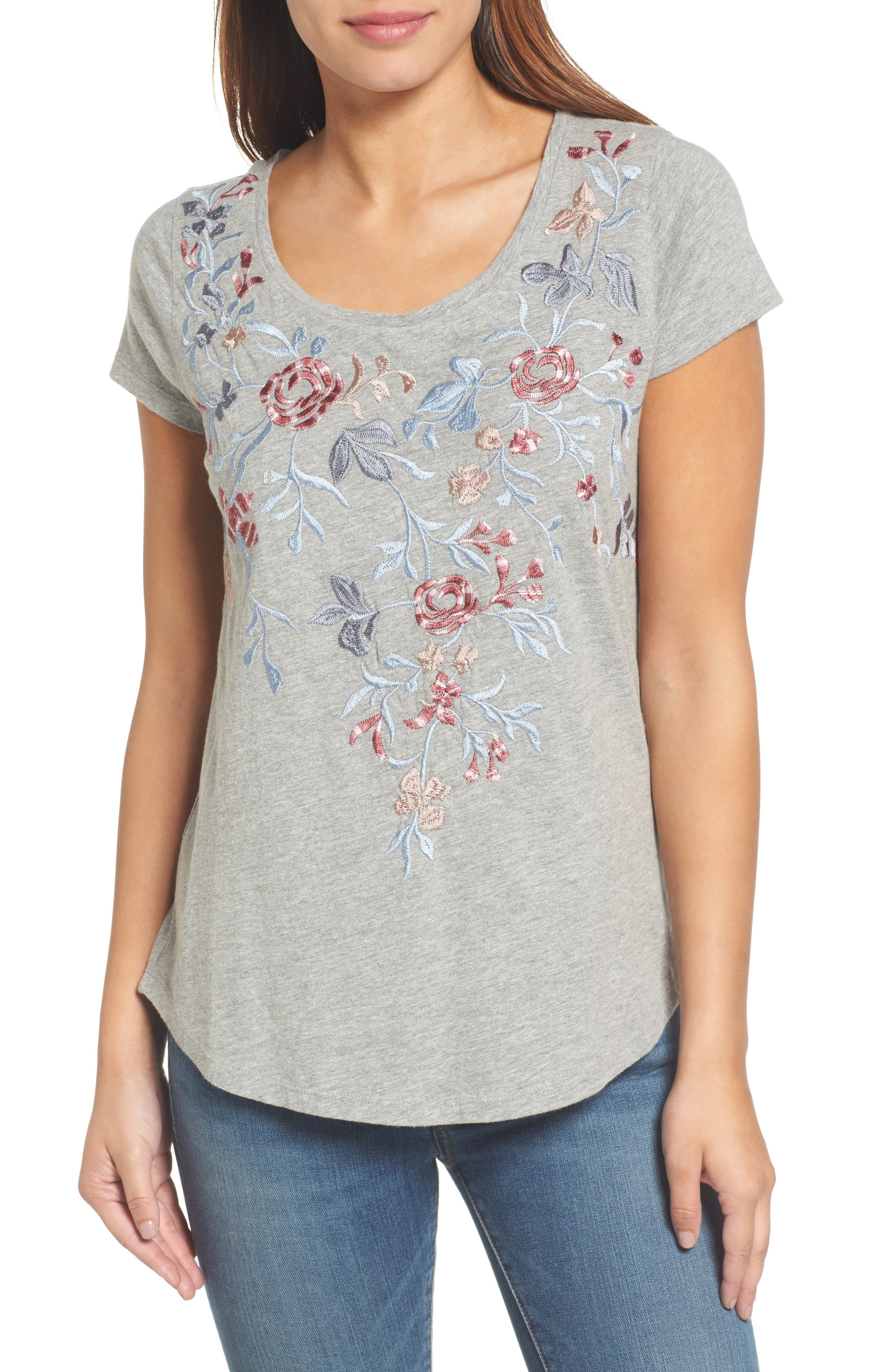 Floral Embroidered Tee,                         Main,                         color, Heather Grey
