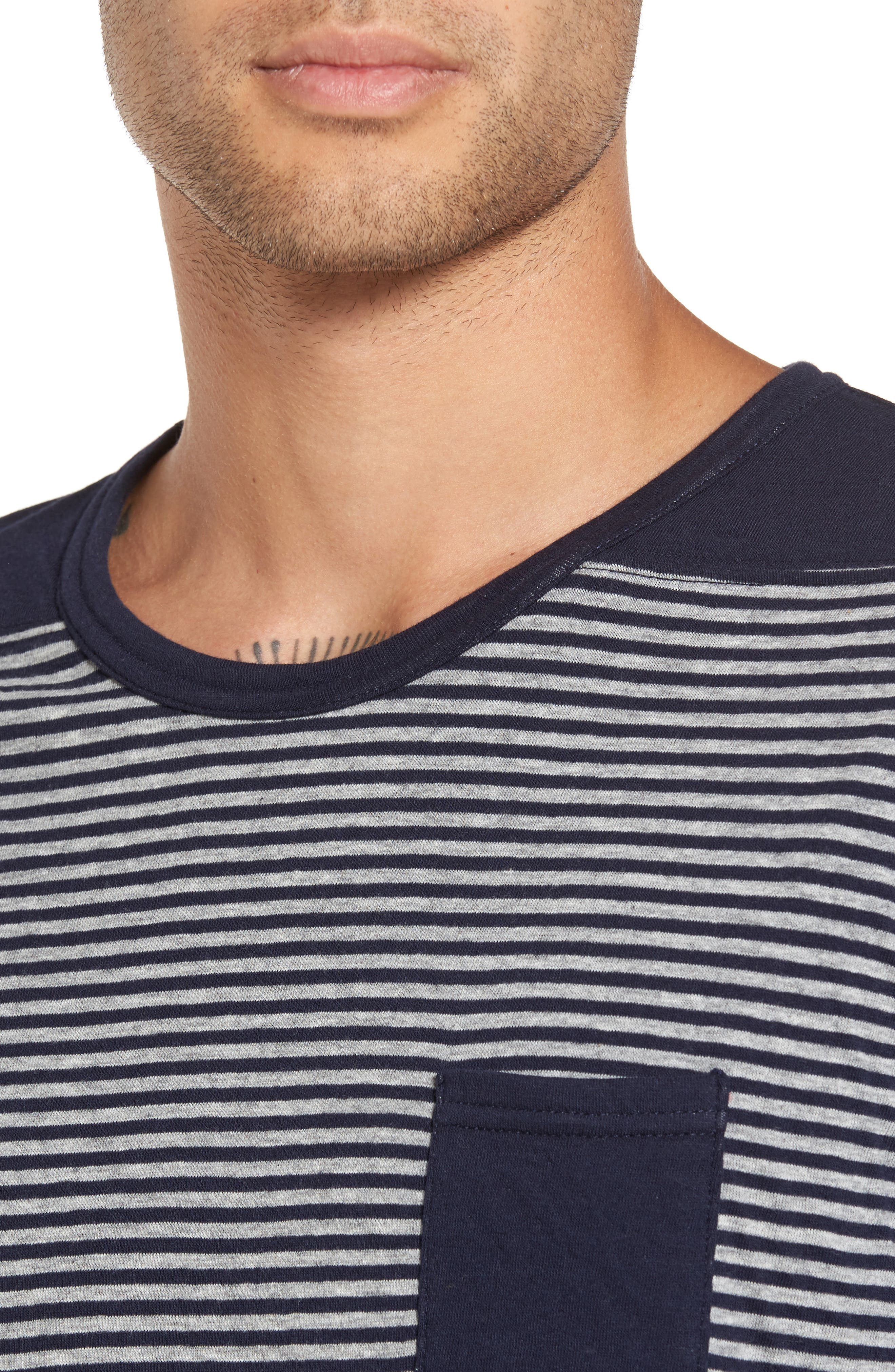 Striped Pocket T-Shirt,                             Alternate thumbnail 4, color,                             Navy/ White Stripe