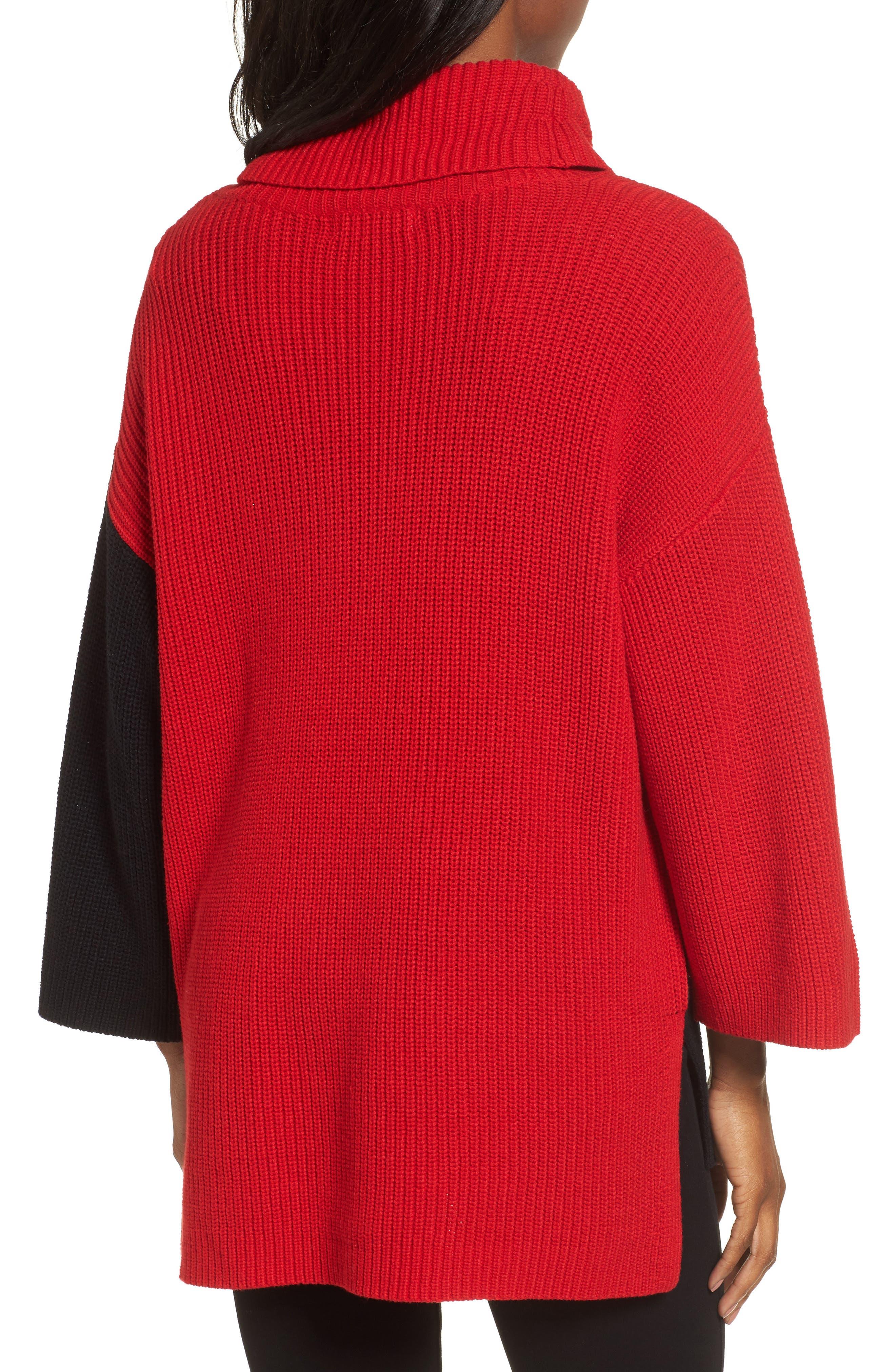 Colorblock Cowl Neck Sweater,                             Alternate thumbnail 2, color,                             Rouge