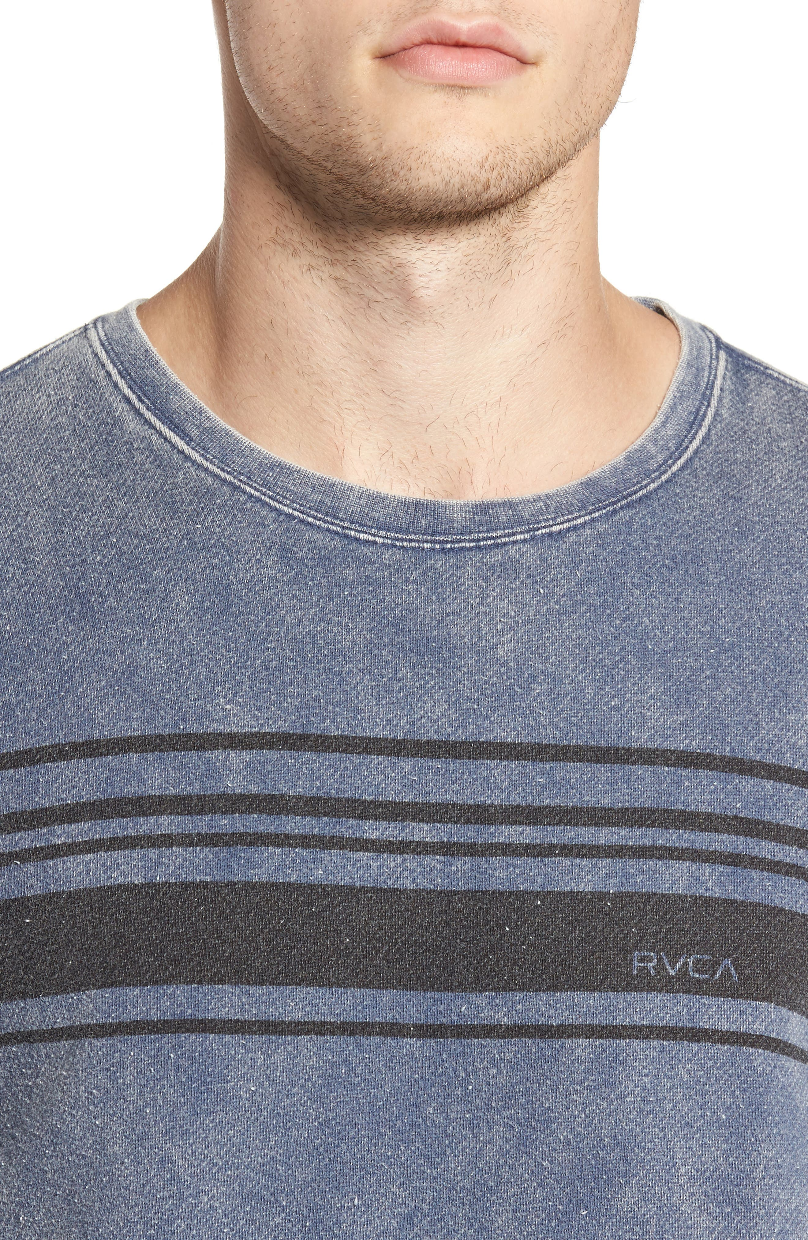Alternate Image 5  - RVCA Stripe Crewneck Sweatshirt