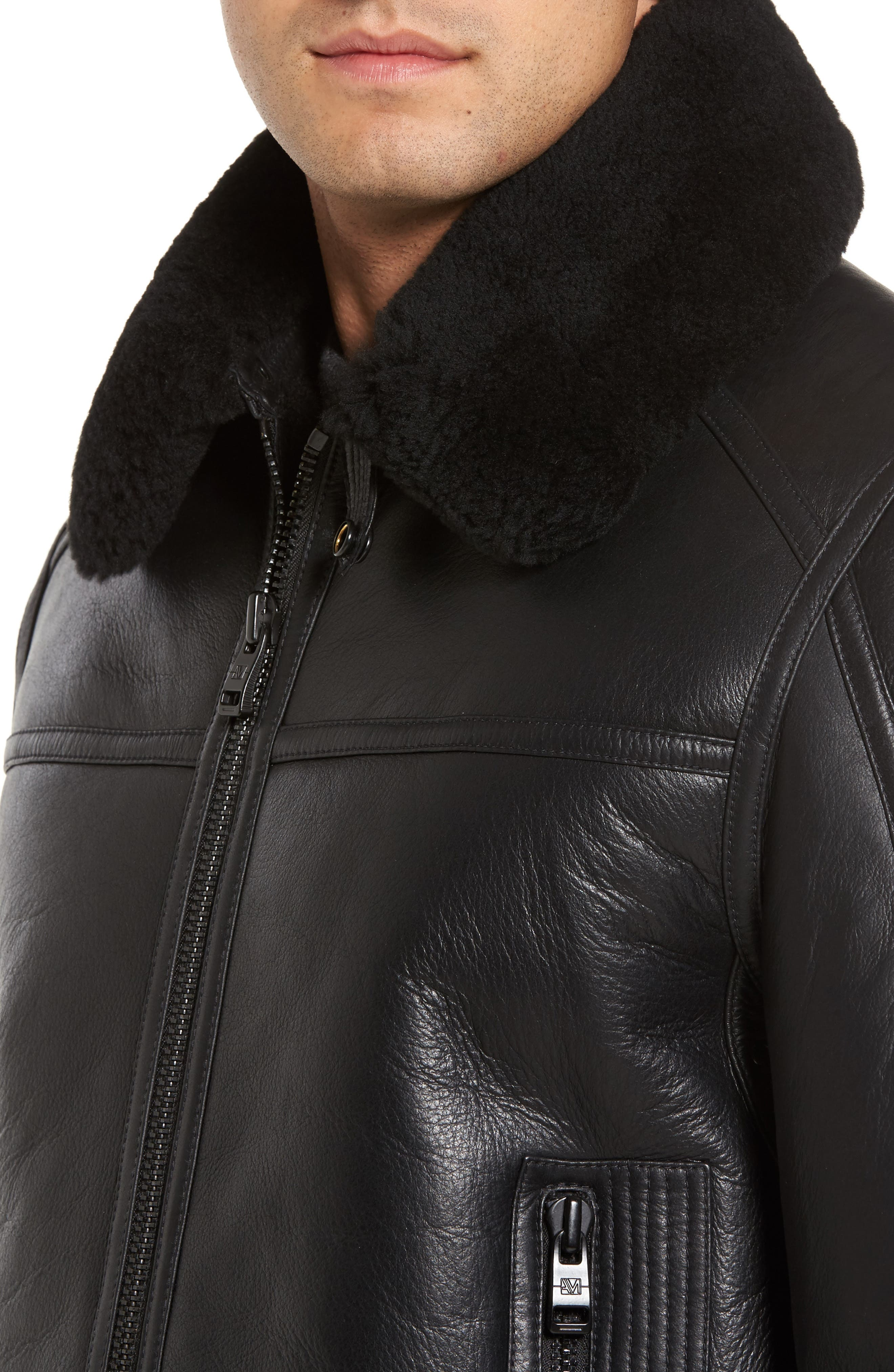 Leather Jacket with Genuine Shearling Collar,                             Alternate thumbnail 4, color,                             Black
