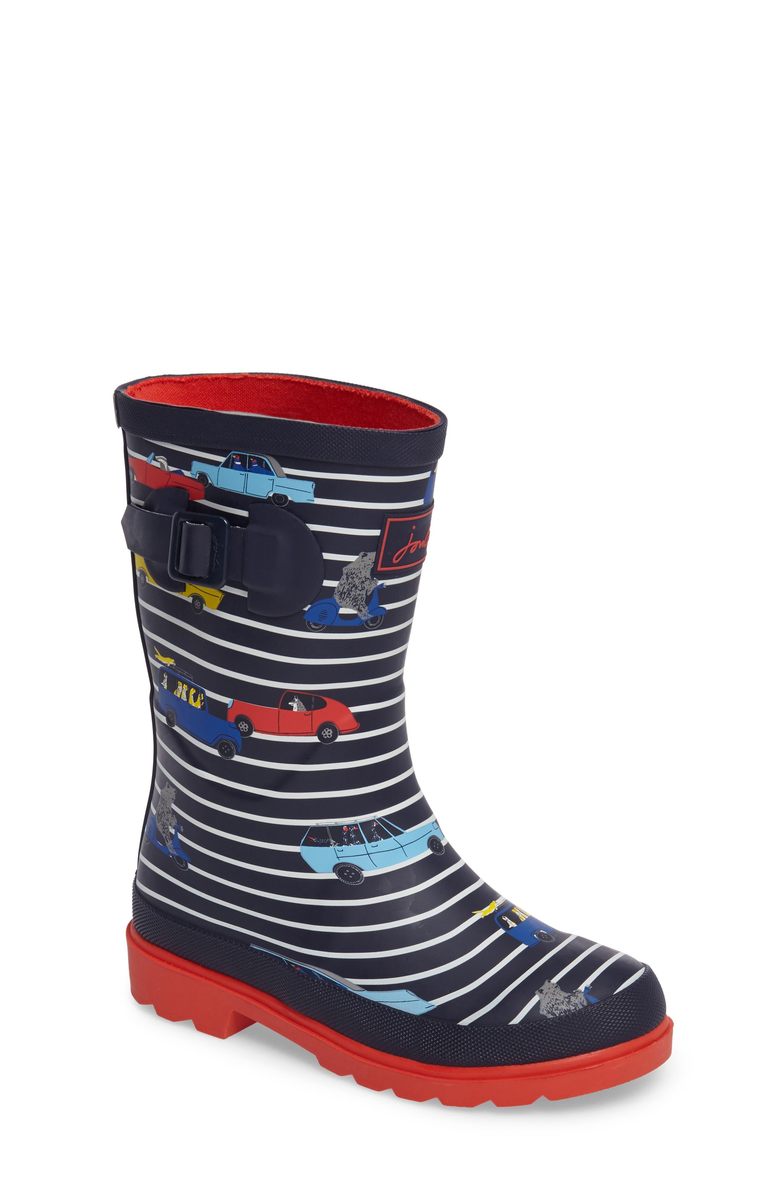 Printed Waterproof Rain Boot,                         Main,                         color, Navy Stripe Cars