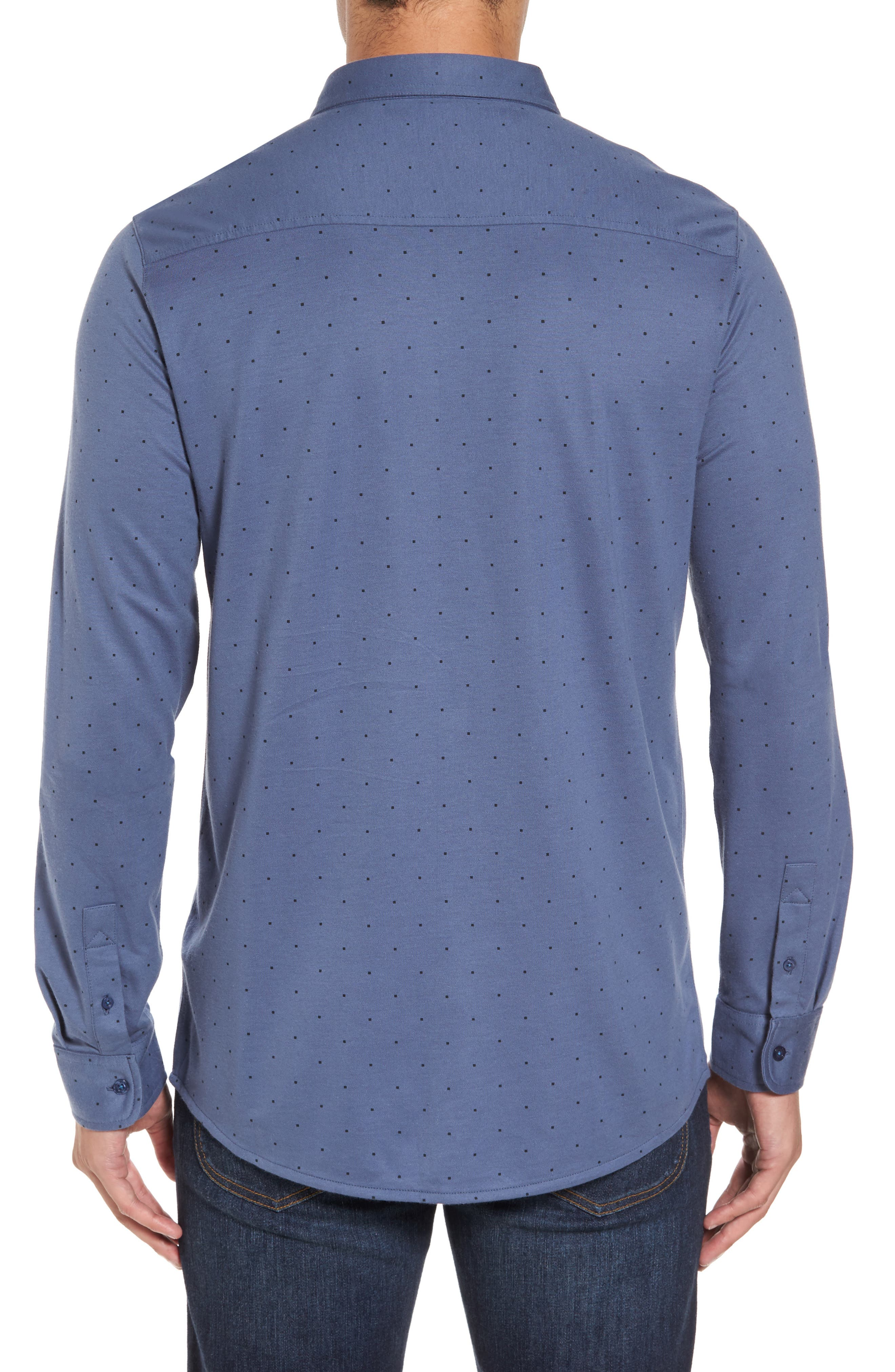 Randy Square Dot Sport Shirt,                             Alternate thumbnail 2, color,                             Vintage Indigo