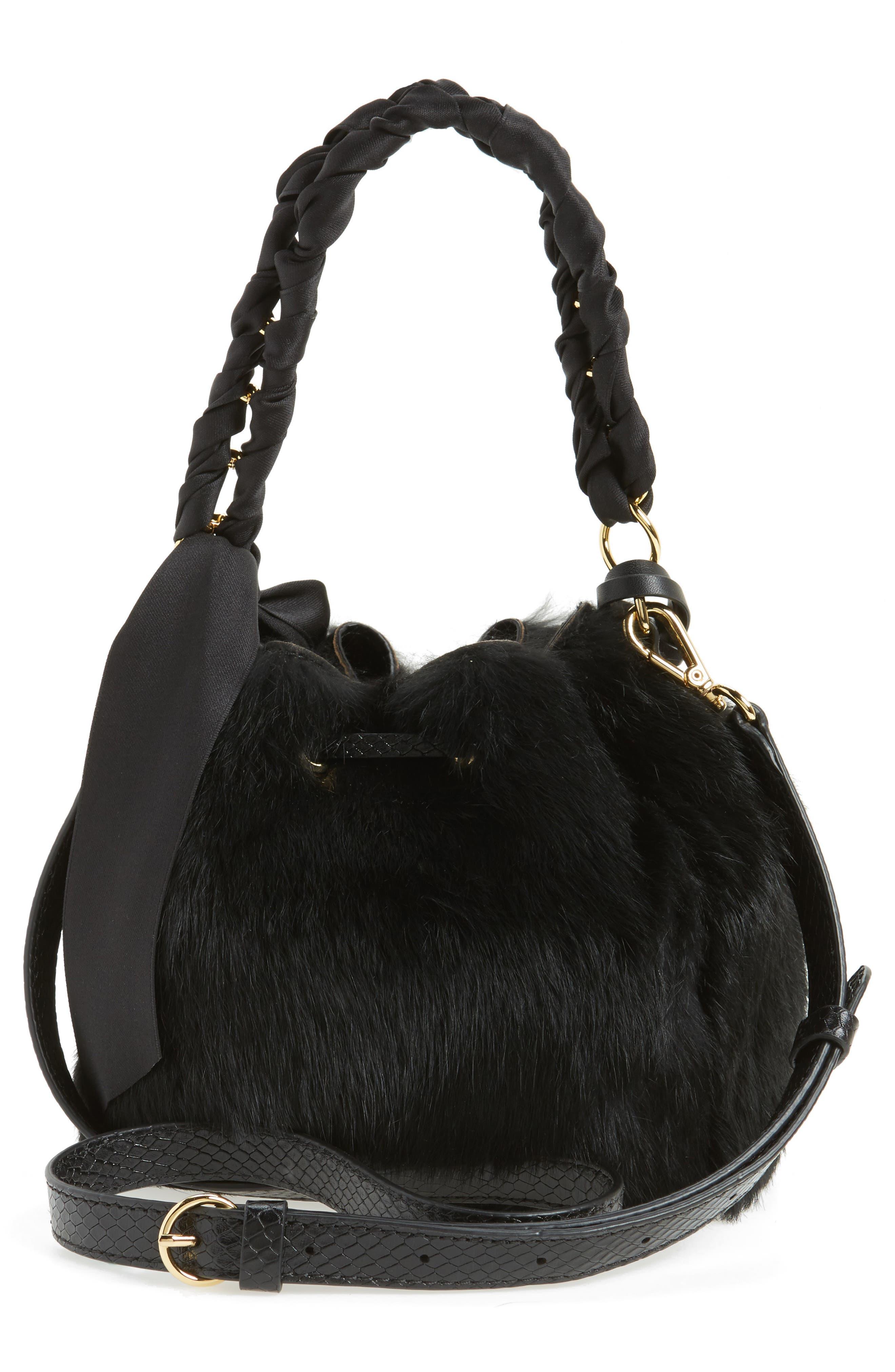Alternate Image 3  - Frances Valentine Small Genuine Rabbit Fur & Leather Bucket Bag