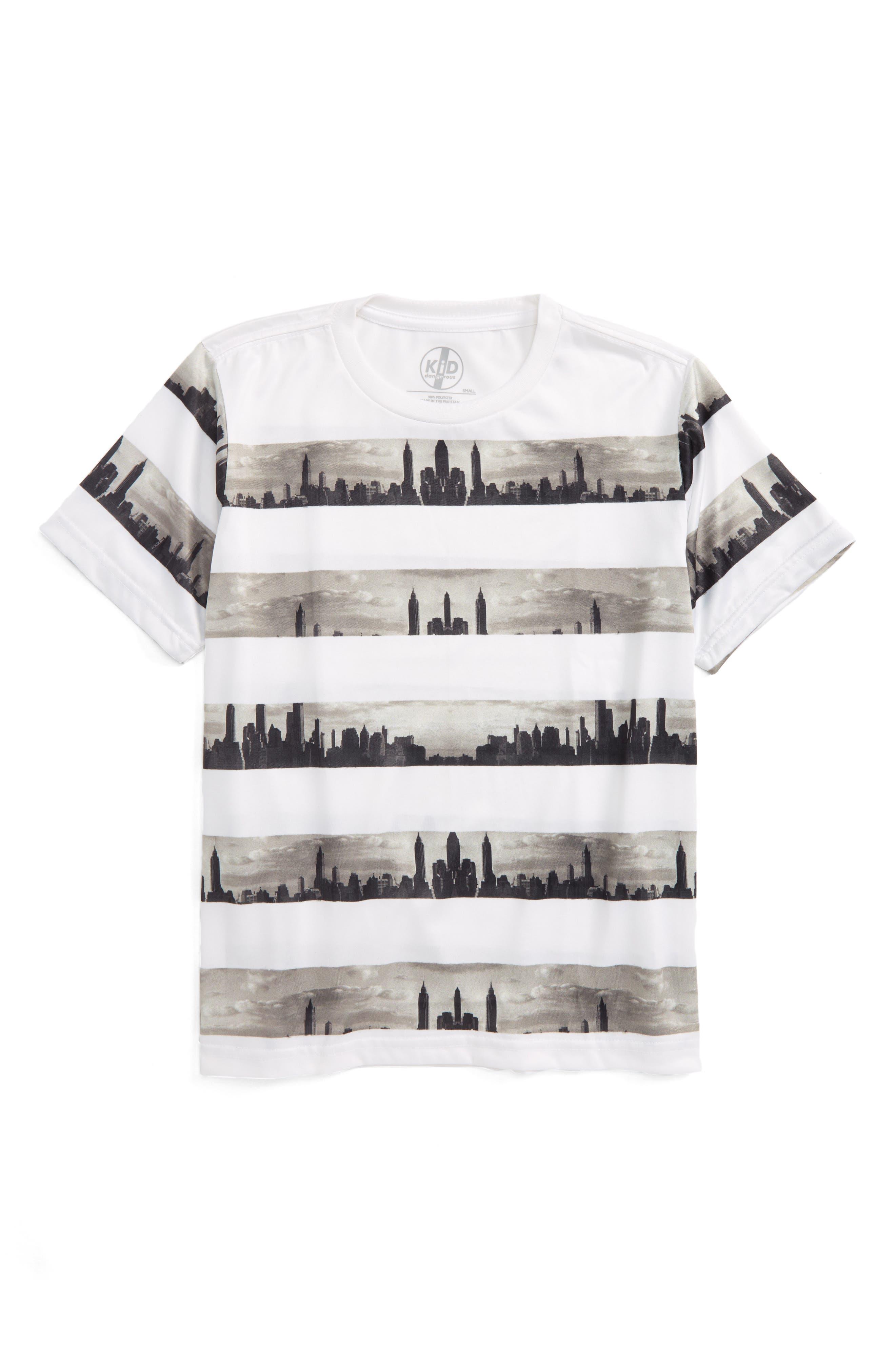 KID DANGEROUS Skyline Stripe Print T-Shirt