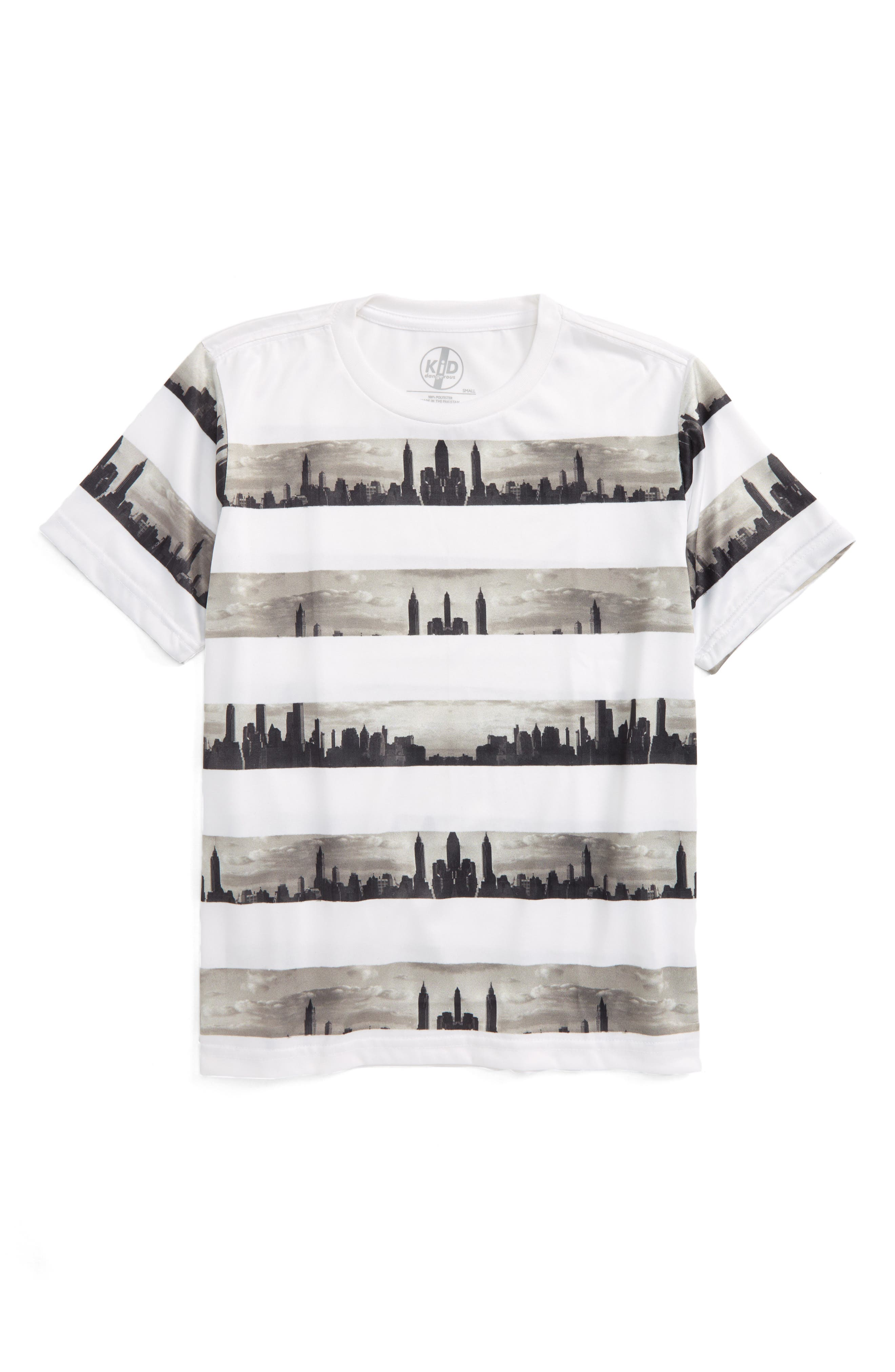 Kid Dangerous Skyline Stripe Print T-Shirt (Big Boys)