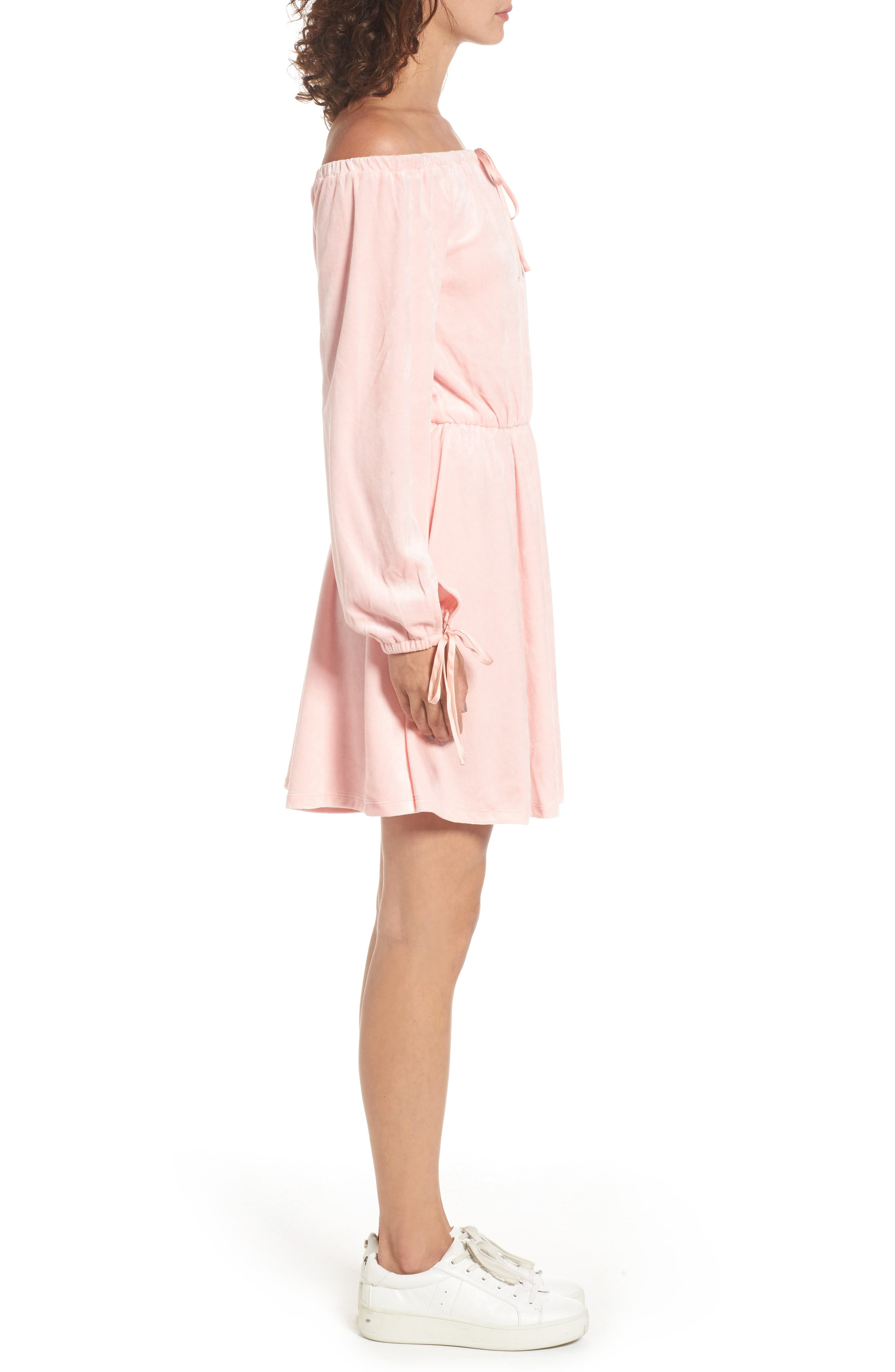 Alternate Image 3  - Juicy Couture Track Off the Shoulder Velour Dress