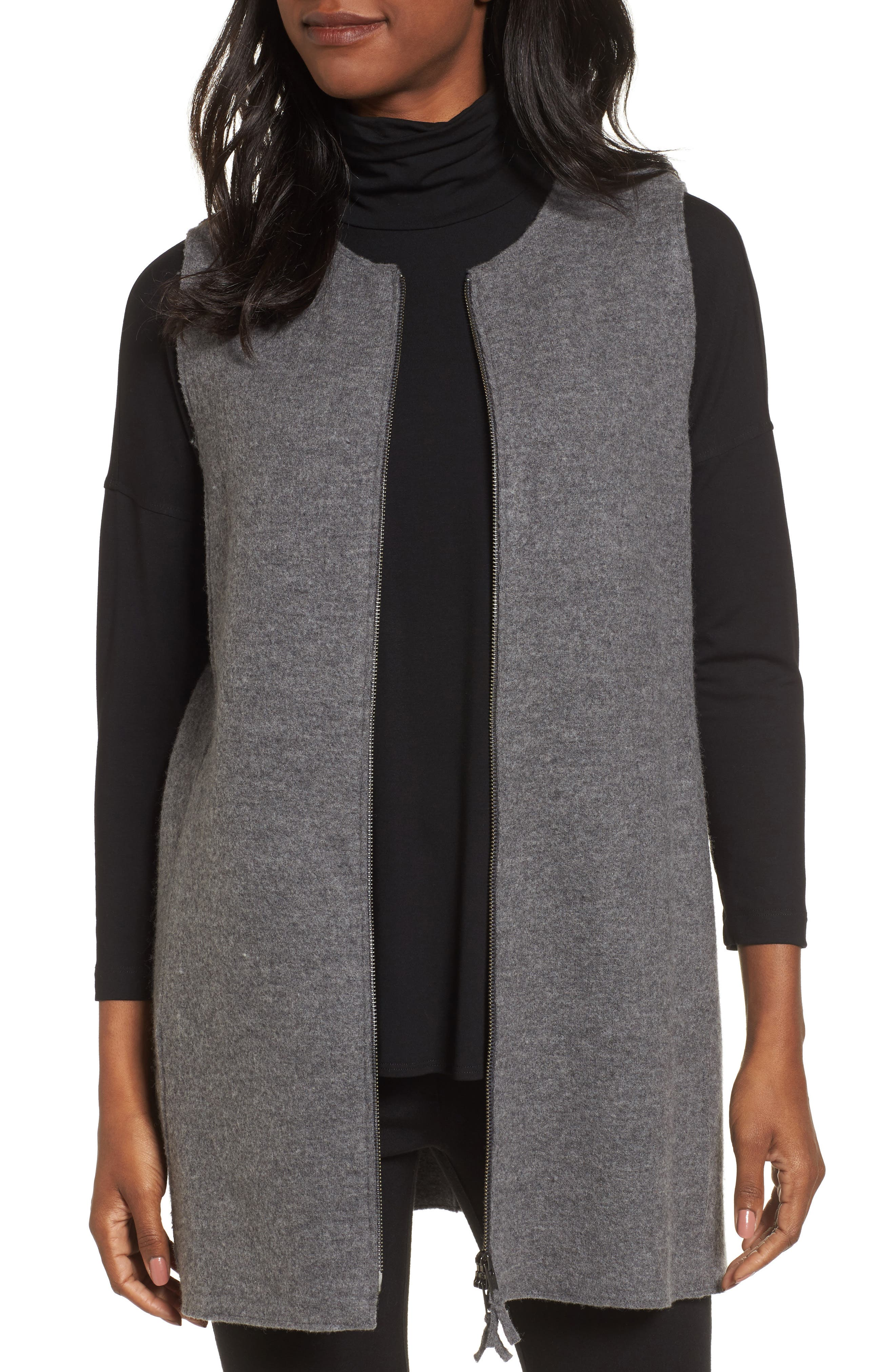 Eileen Fisher Long Boiled Wool Vest (Regular & Petite)