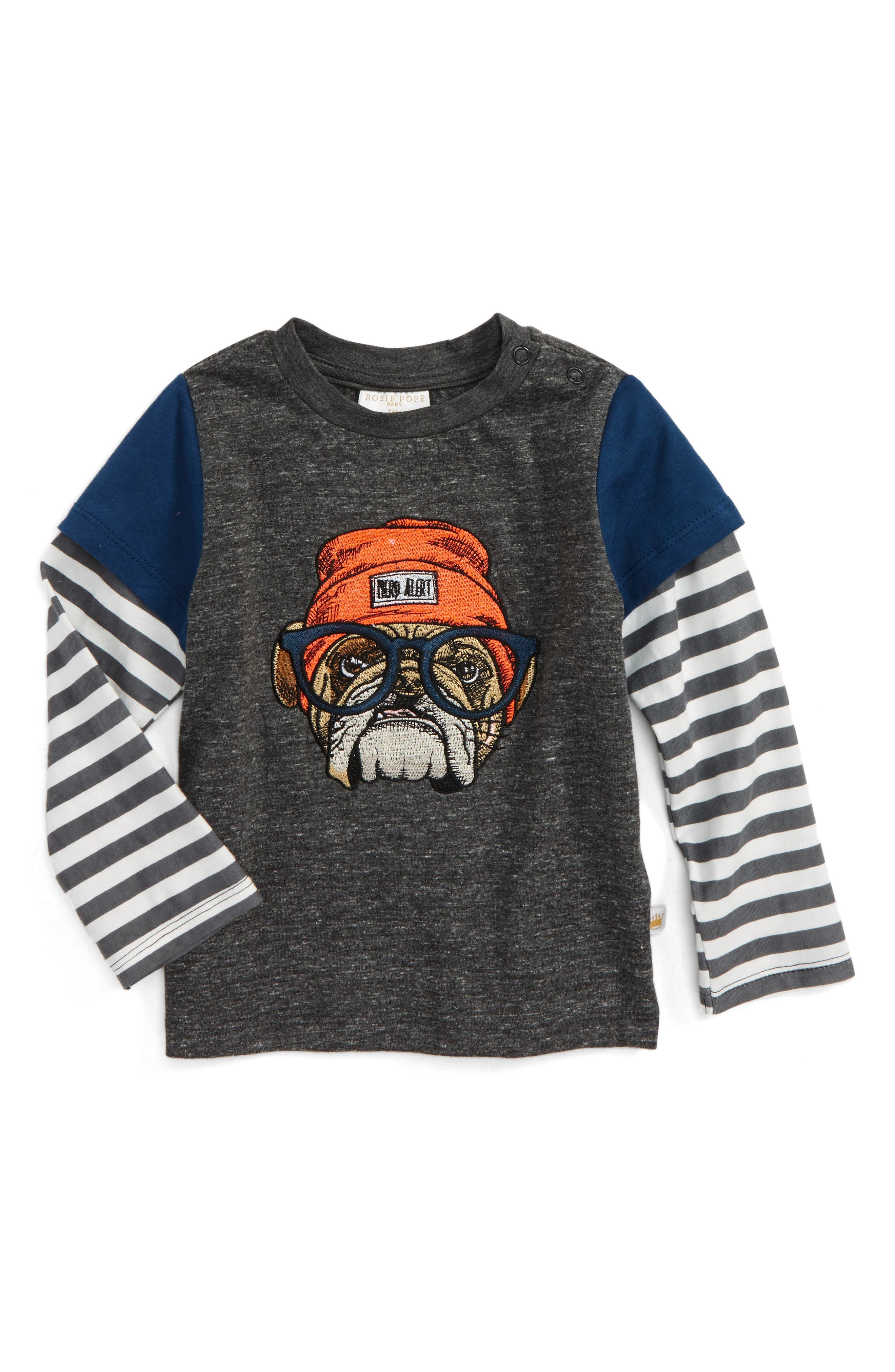 Embroidered Dog Layered Shirt,                         Main,                         color, Grey