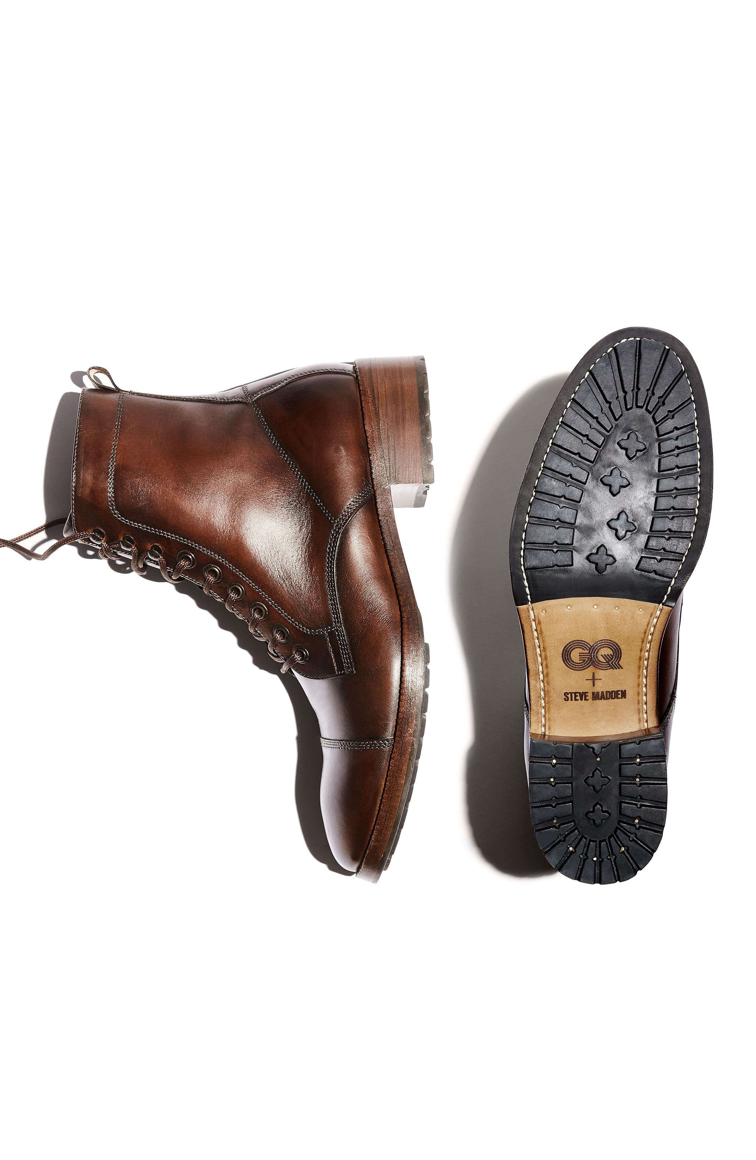 x GQ Ted Cap Toe Boot,                             Alternate thumbnail 2, color,                             Brown Leather