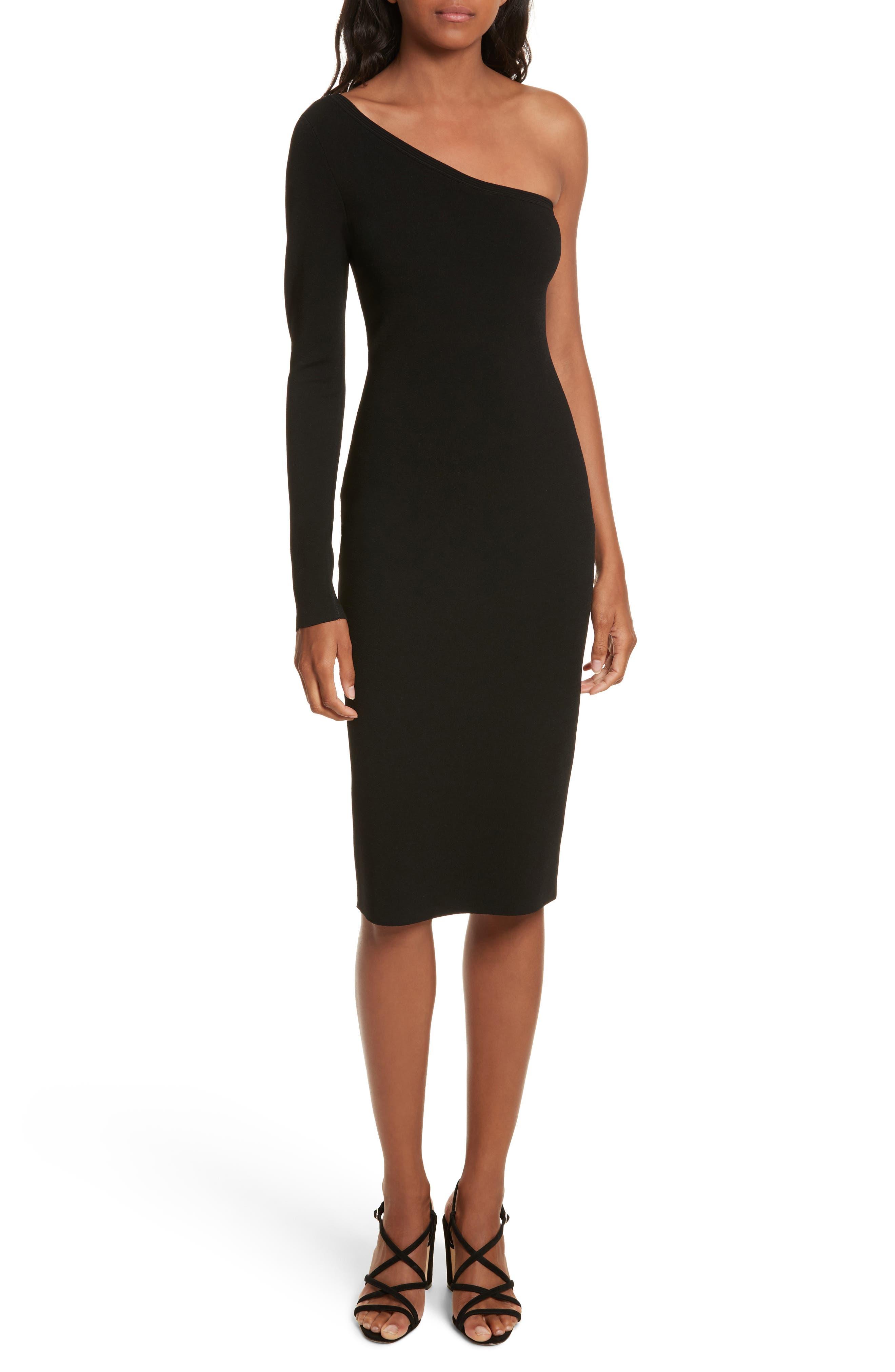 Diane von Furstenberg Knit One-Shoulder Midi Dress,                             Main thumbnail 1, color,                             Black