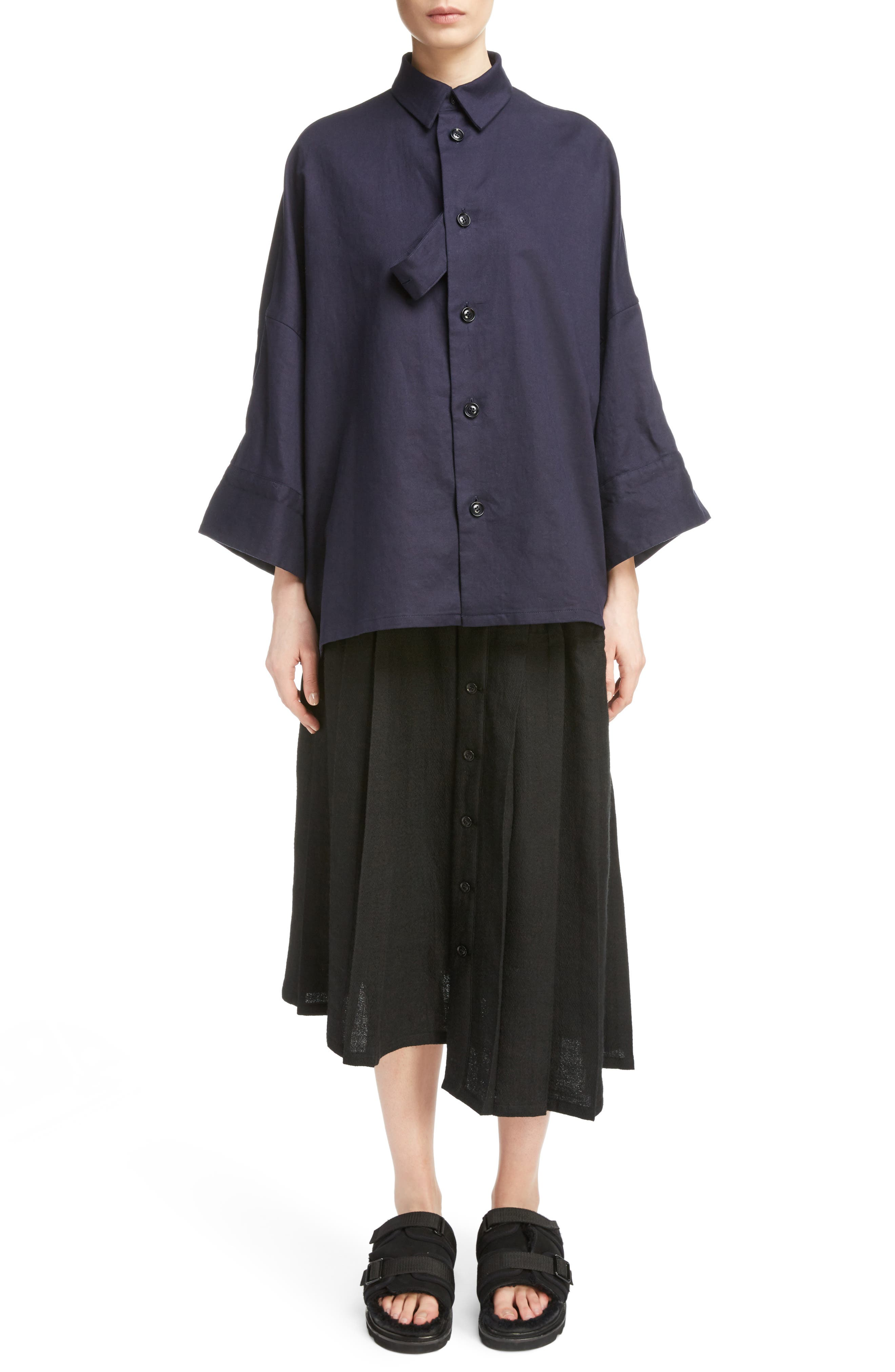 Fly Front Oversize Blouse,                             Main thumbnail 1, color,                             Navy