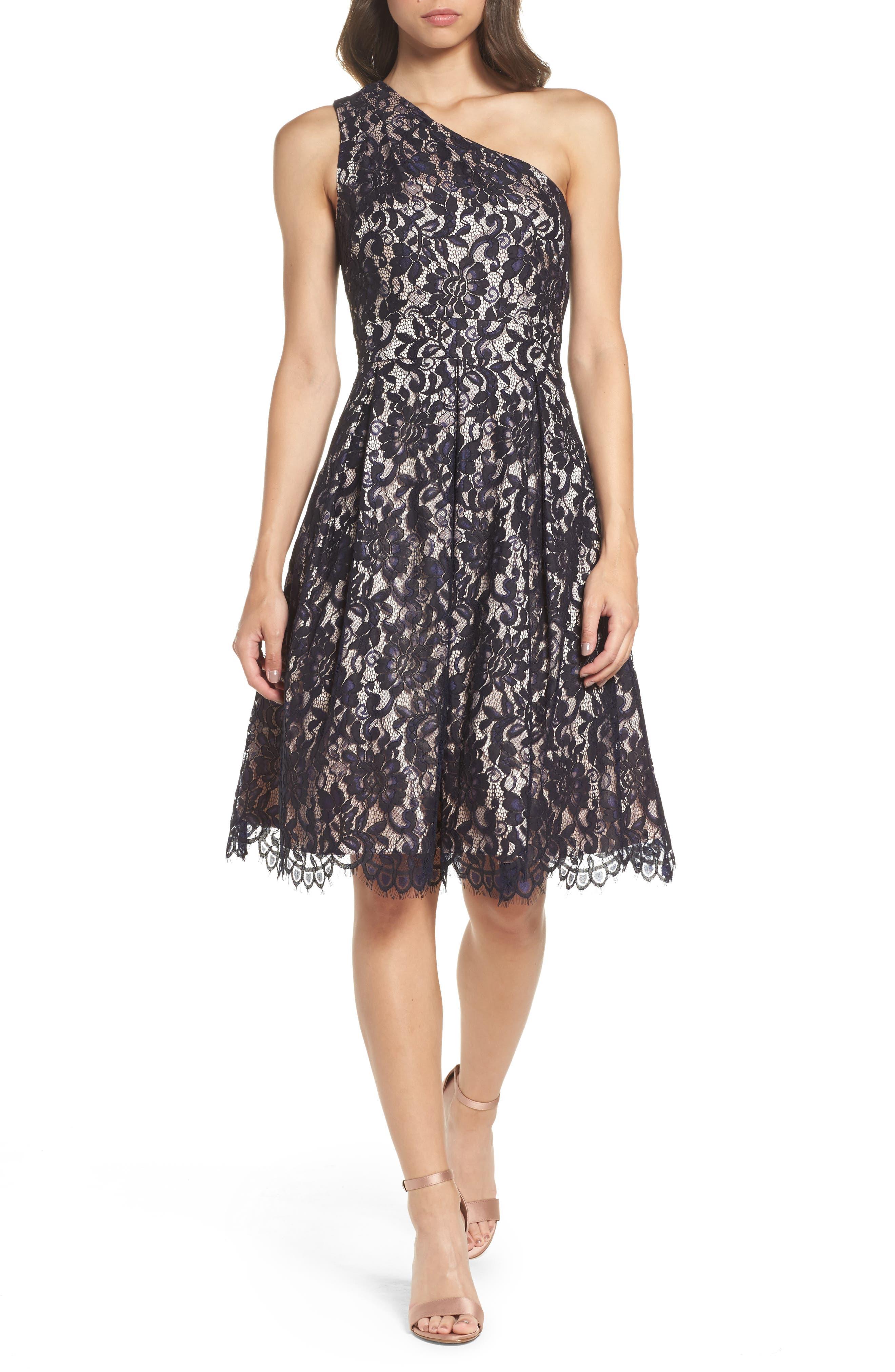 One-Shoulder Lace Dress,                             Main thumbnail 1, color,                             Navy