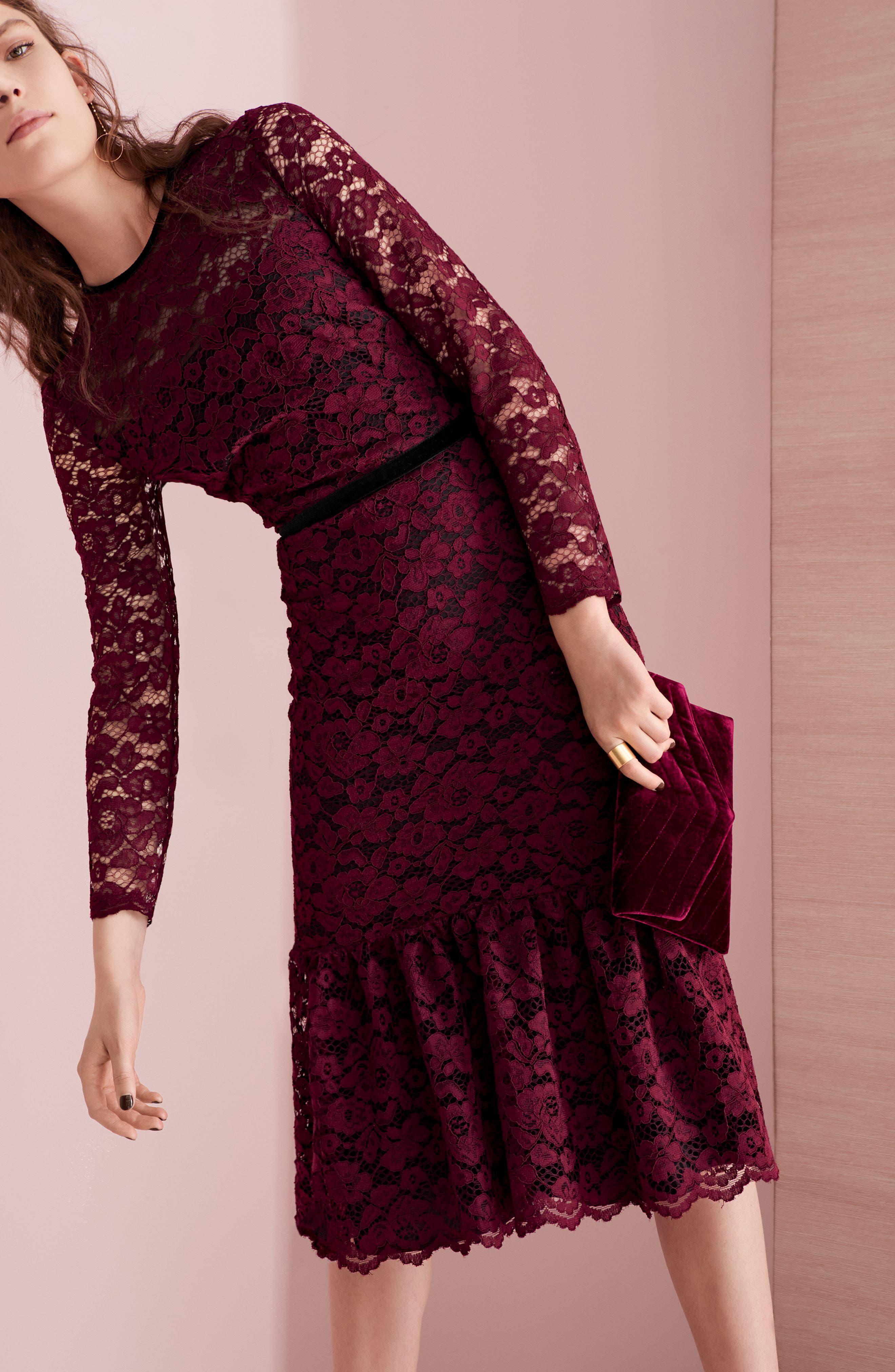 Lace Midi Dress,                             Alternate thumbnail 2, color,                             Plum Wine
