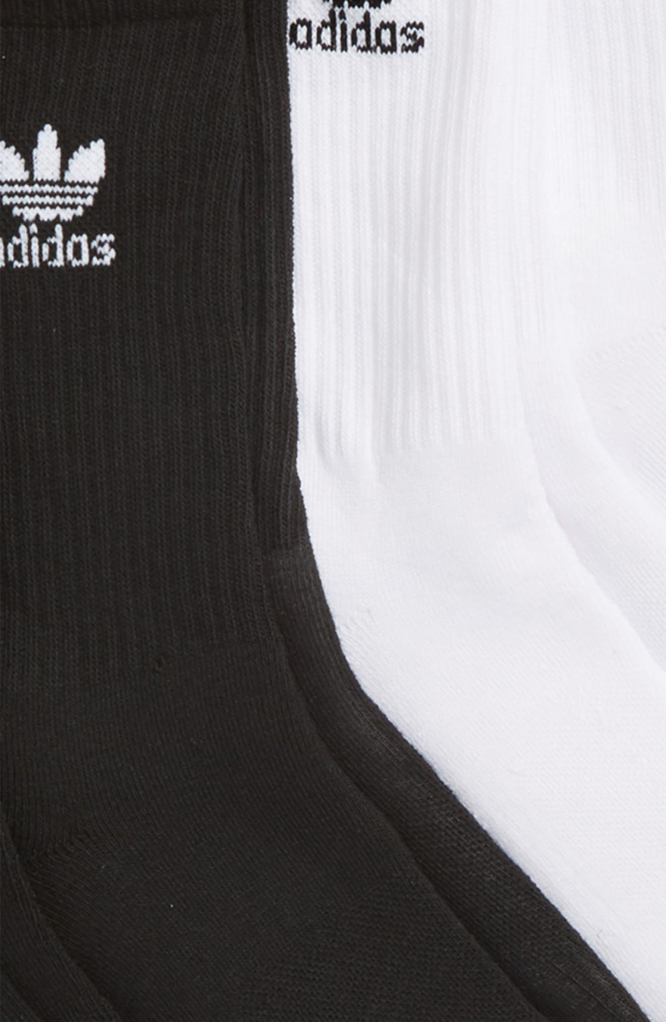 Trefoil 6-Pack Crew Socks,                             Alternate thumbnail 2, color,                             White/ Black