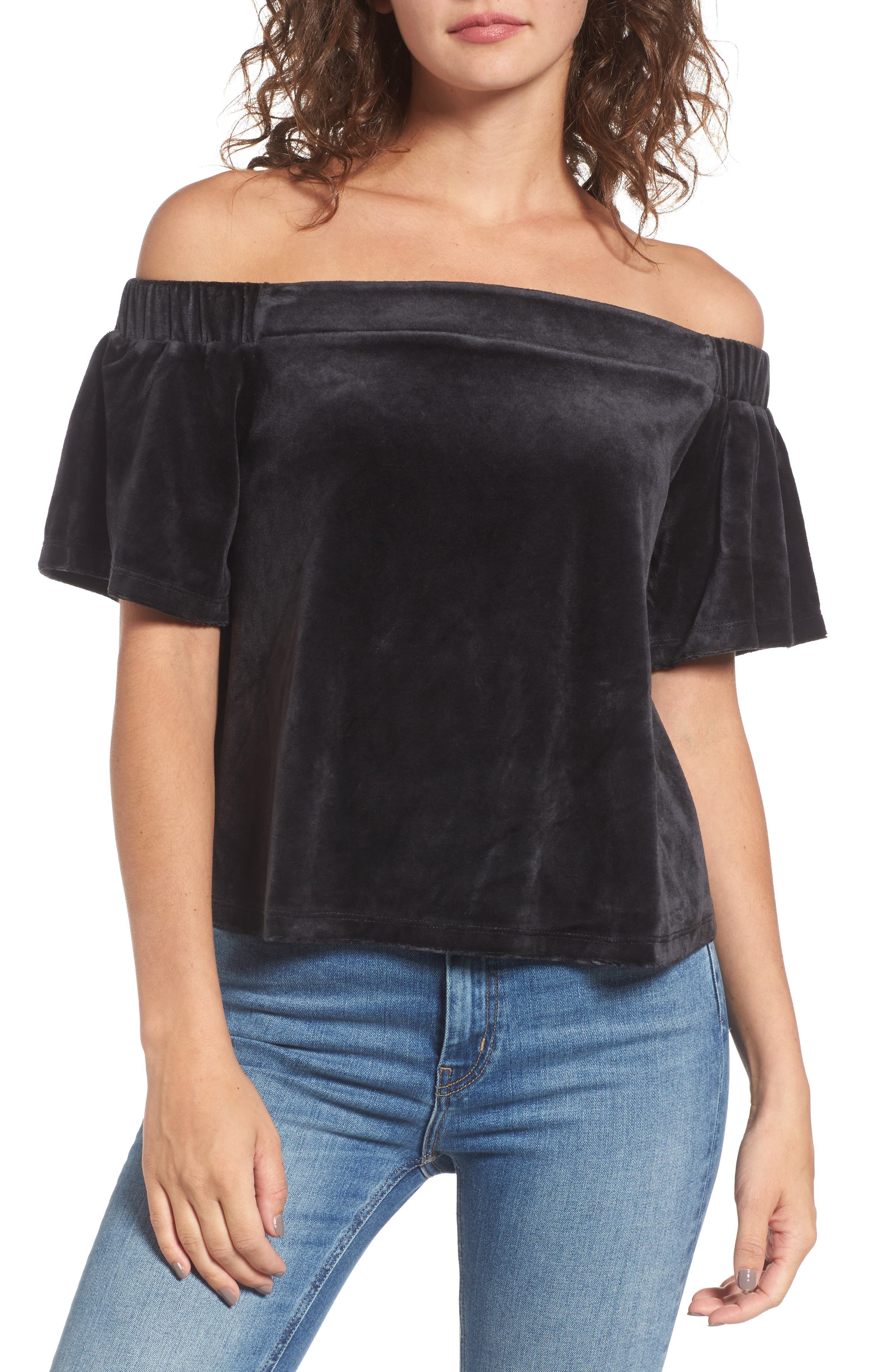 Alternate Image 1 Selected - Juicy Couture Velour Off the Shoulder Top