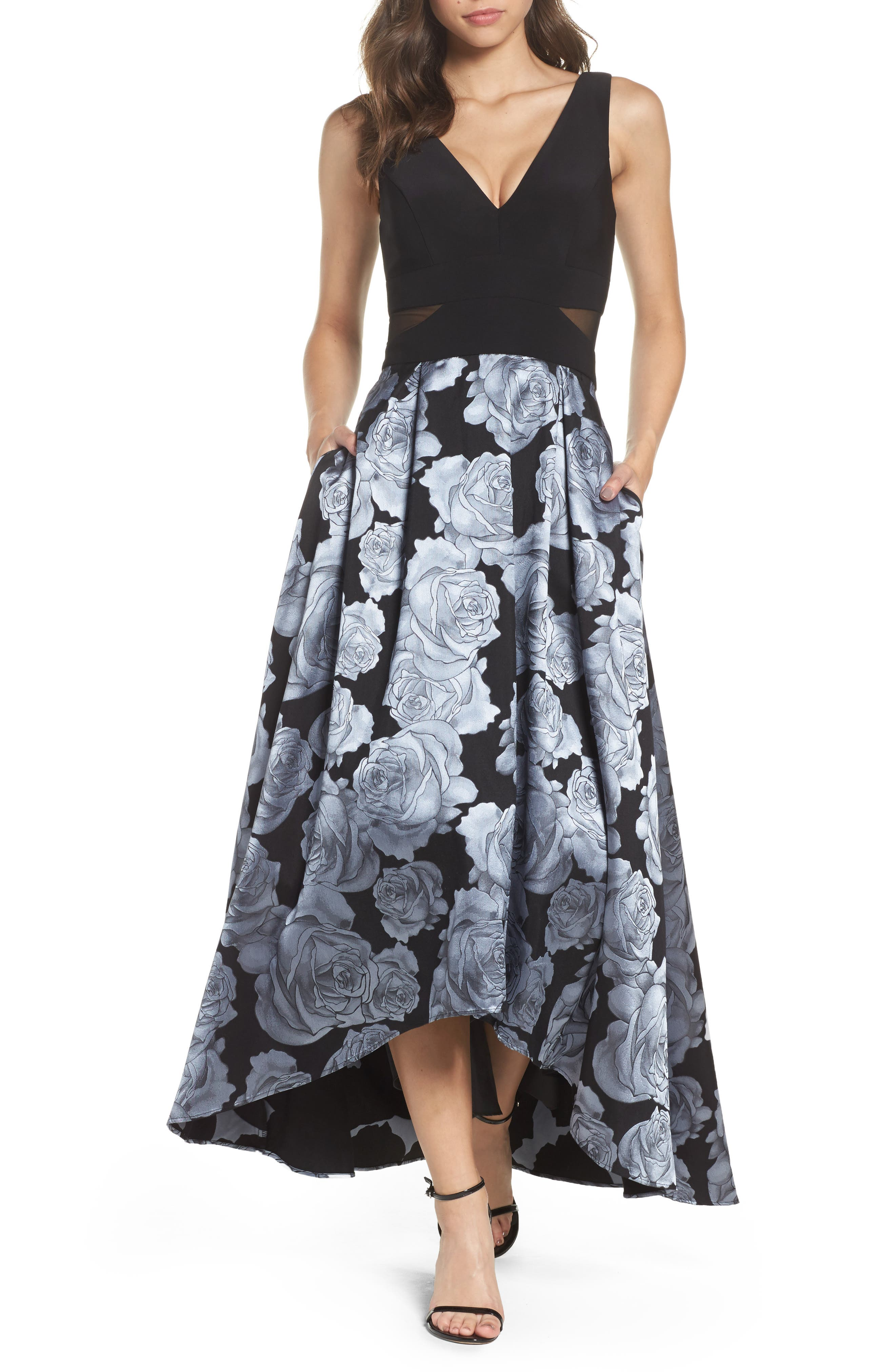 Jersey & Brocade High/Low Gown,                             Main thumbnail 1, color,                             Black/ Grey