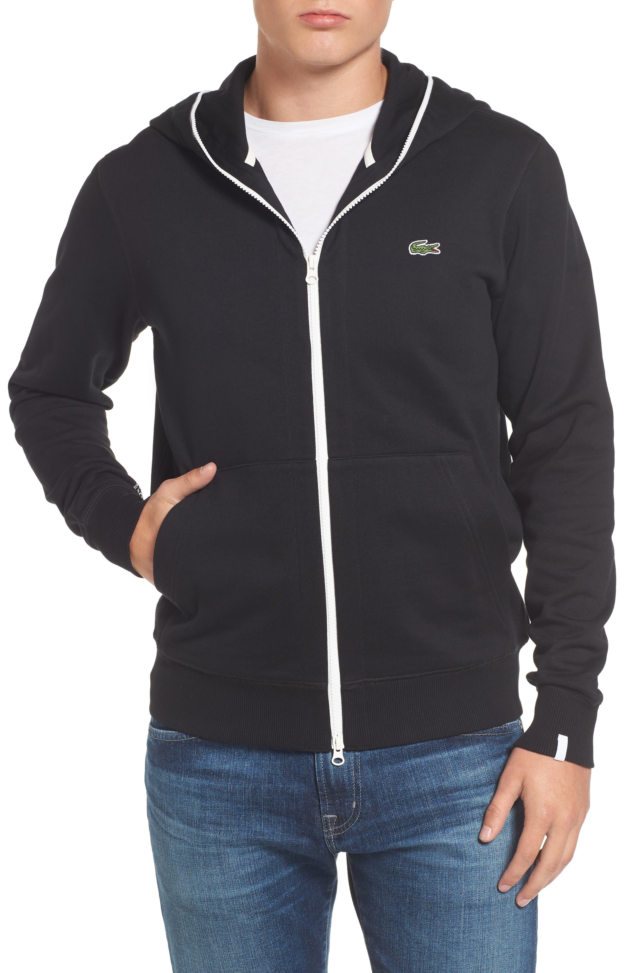 Fleece Zip Sweatshirt,                         Main,                         color, Black