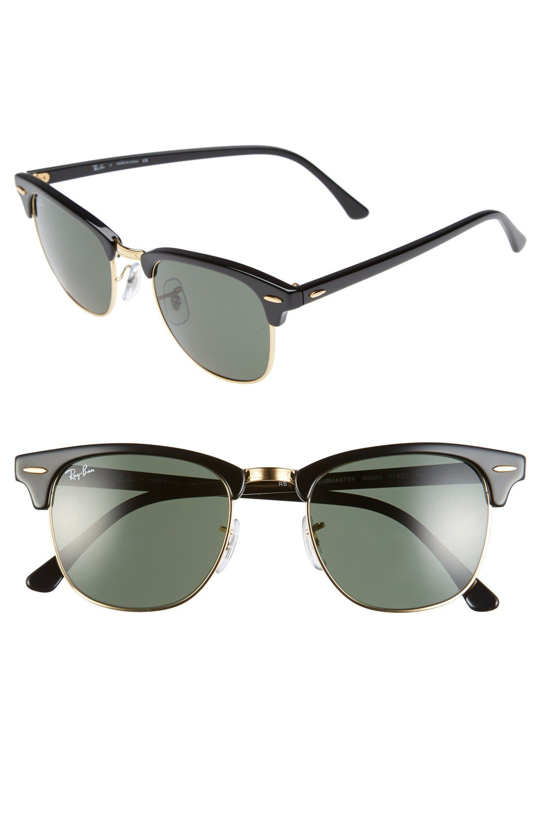 Standard Clubmaster 51mm Sunglasses,                         Main,                         color, Black
