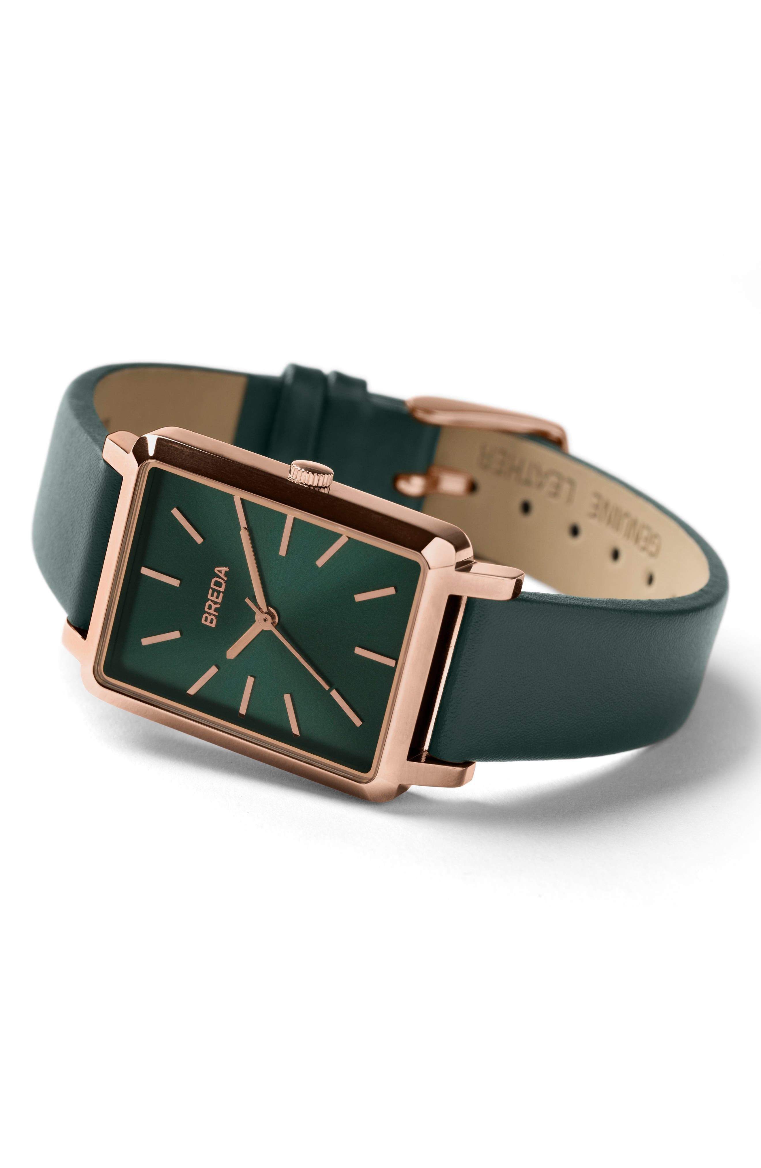 Baer Rectangular Leather Strap Watch, 26mm,                             Alternate thumbnail 3, color,                             Green/ Rose Gold