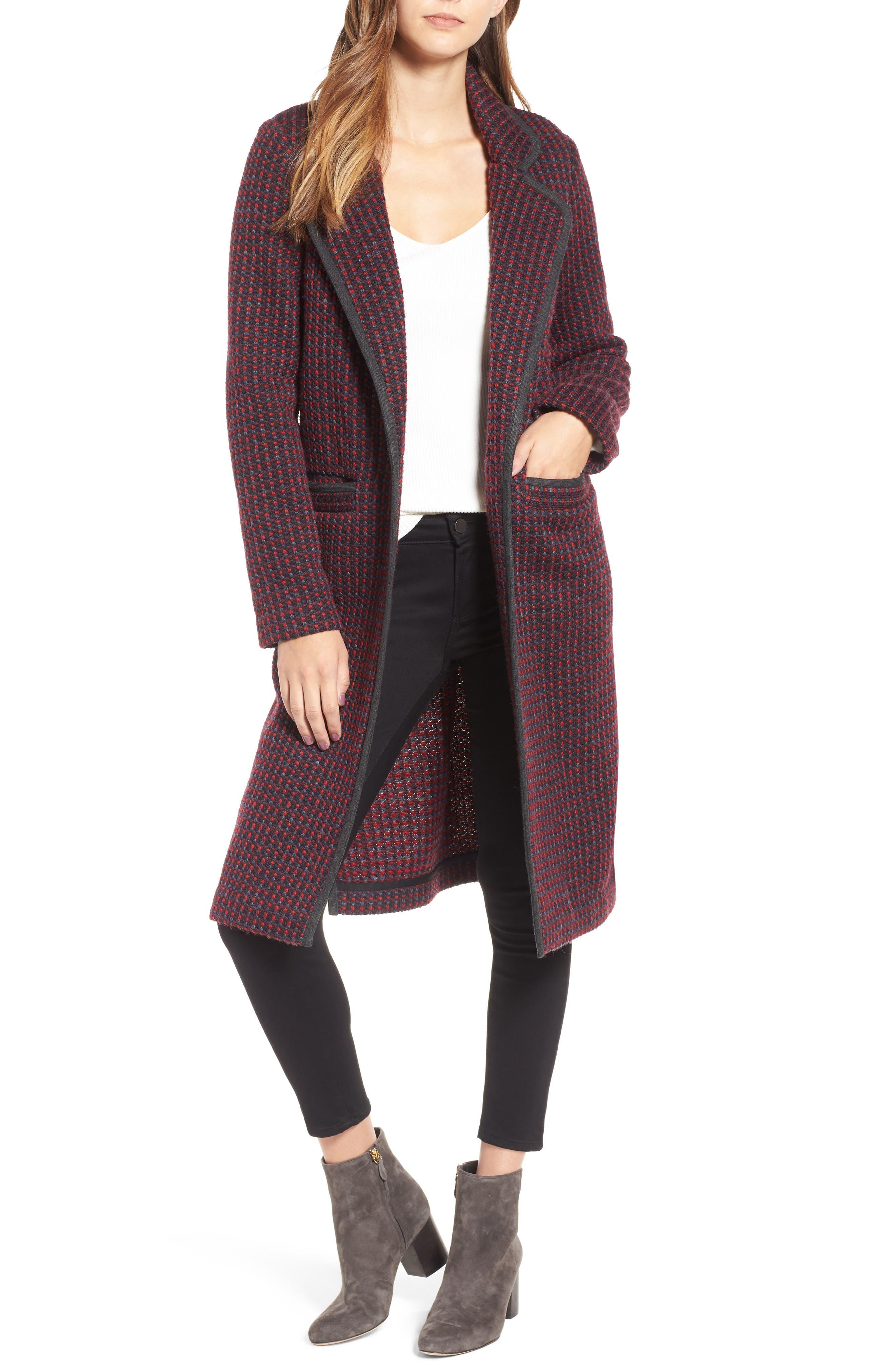 Tweed Coat,                         Main,                         color, Red/ Navy