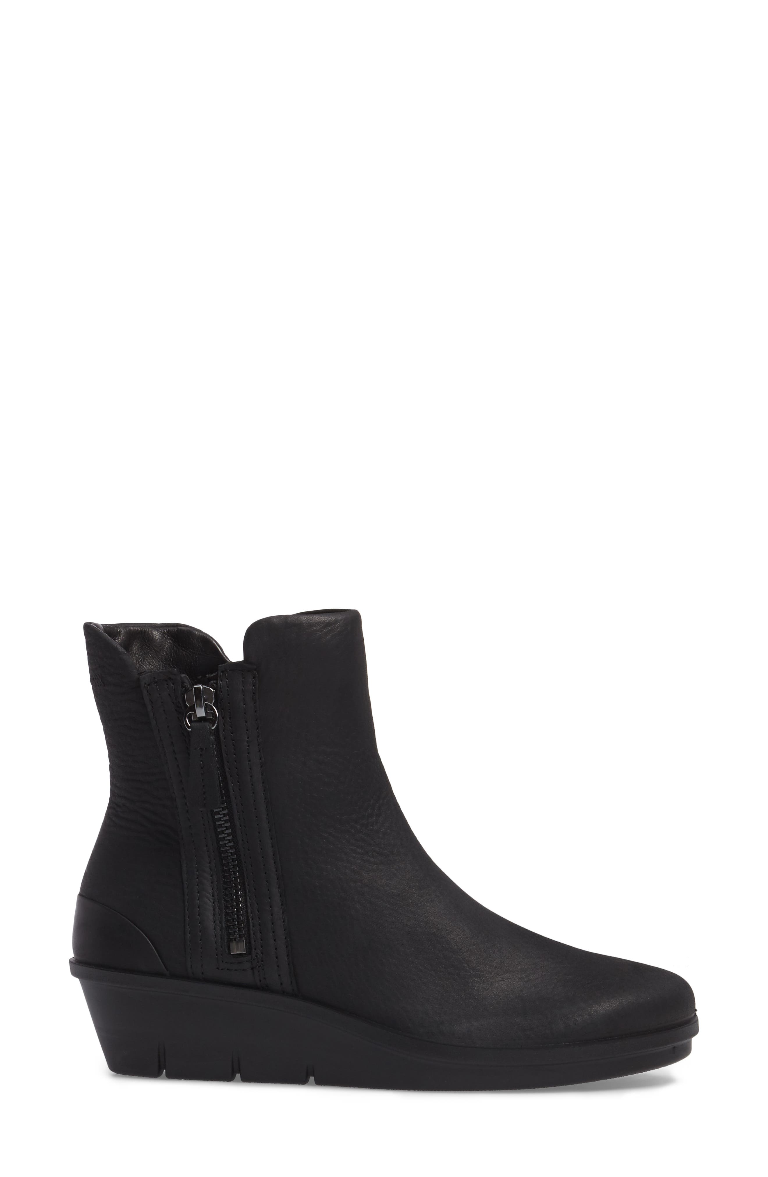 Skyler Notched Wedge Bootie,                             Alternate thumbnail 3, color,                             Black Leather