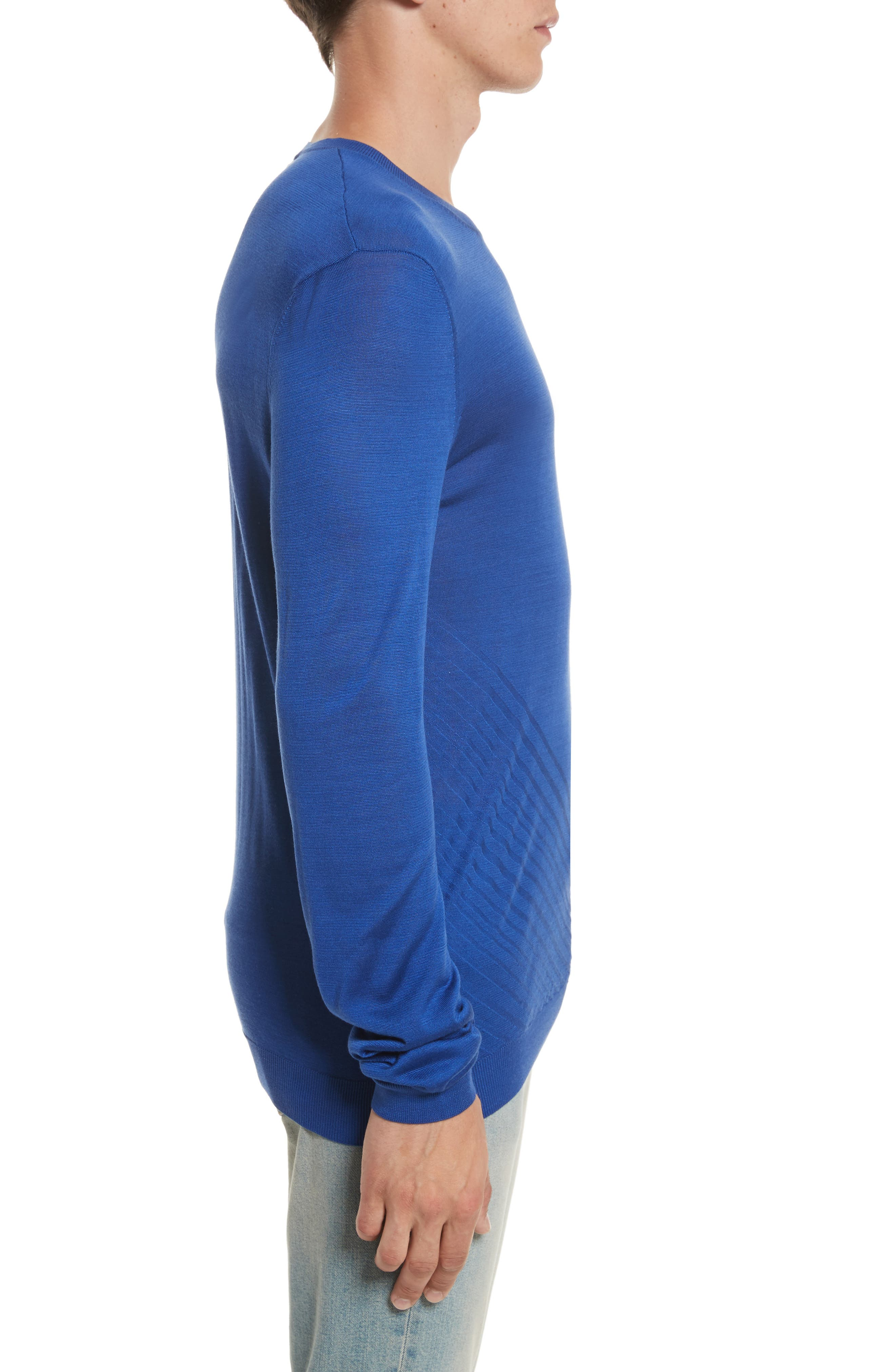 Silk Crewneck Sweater,                             Alternate thumbnail 3, color,                             Royal Blue