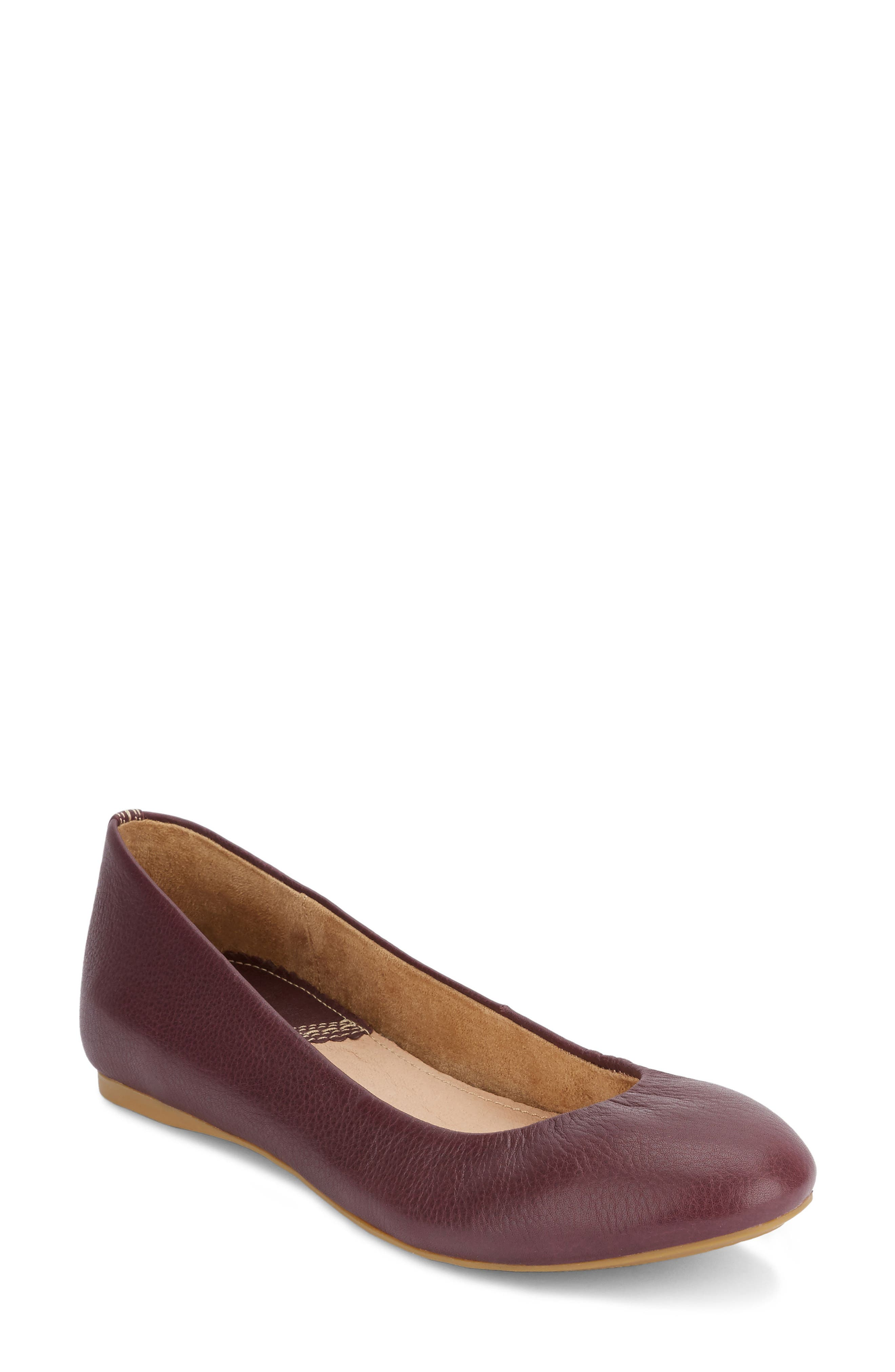 Felicity Ballet Flat,                             Main thumbnail 1, color,                             Eggplant Leather