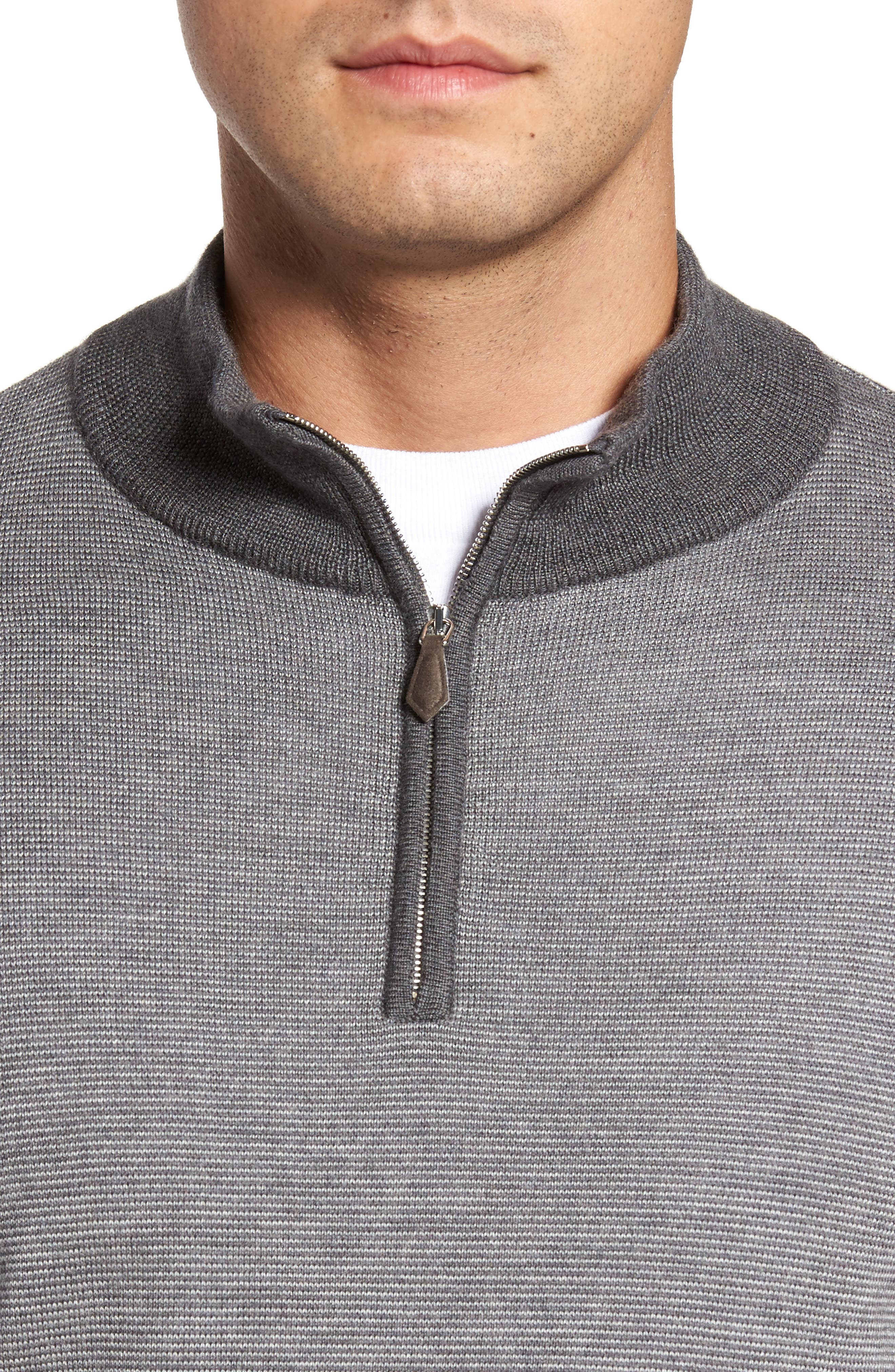 Needle Stripe Merino Blend Quarter Zip Pullover,                             Alternate thumbnail 4, color,                             Nickel