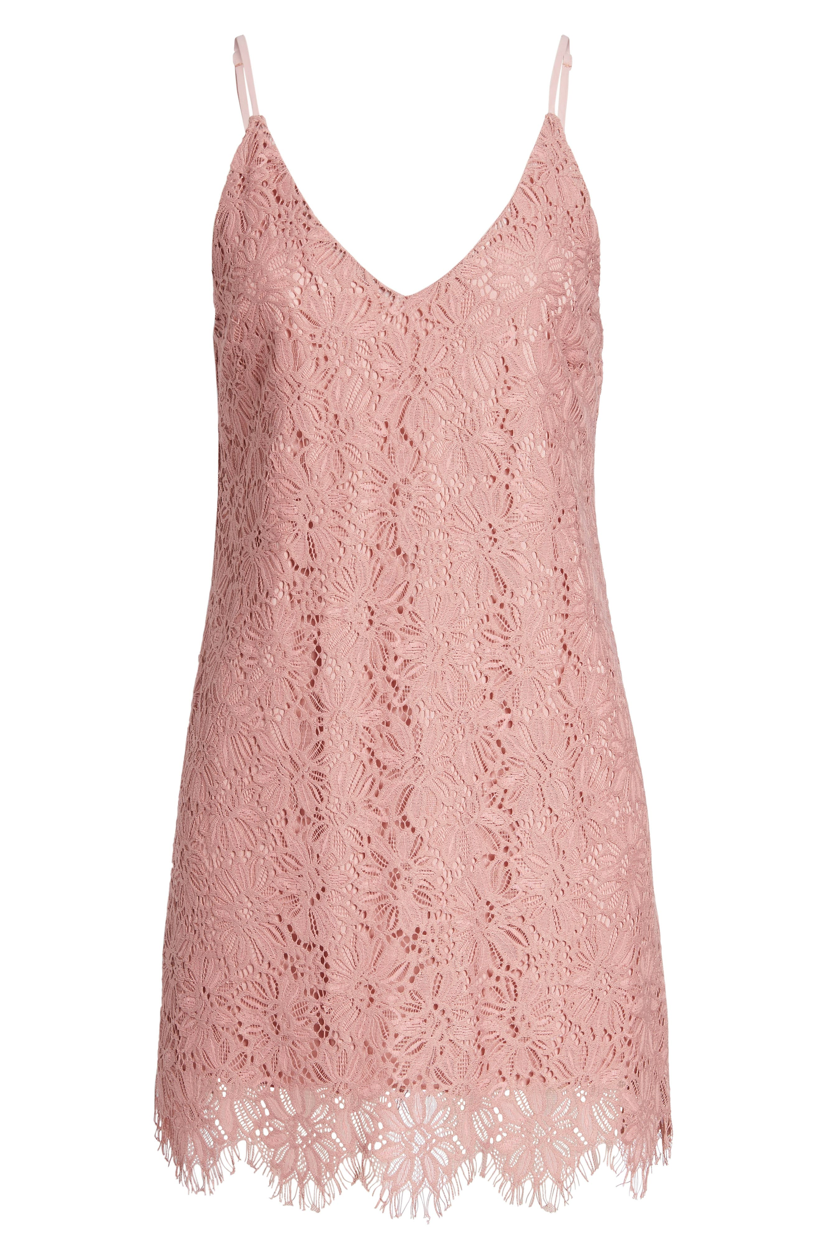 Alternate Image 6  - Speechless Scallop Hem Lace Slipdress