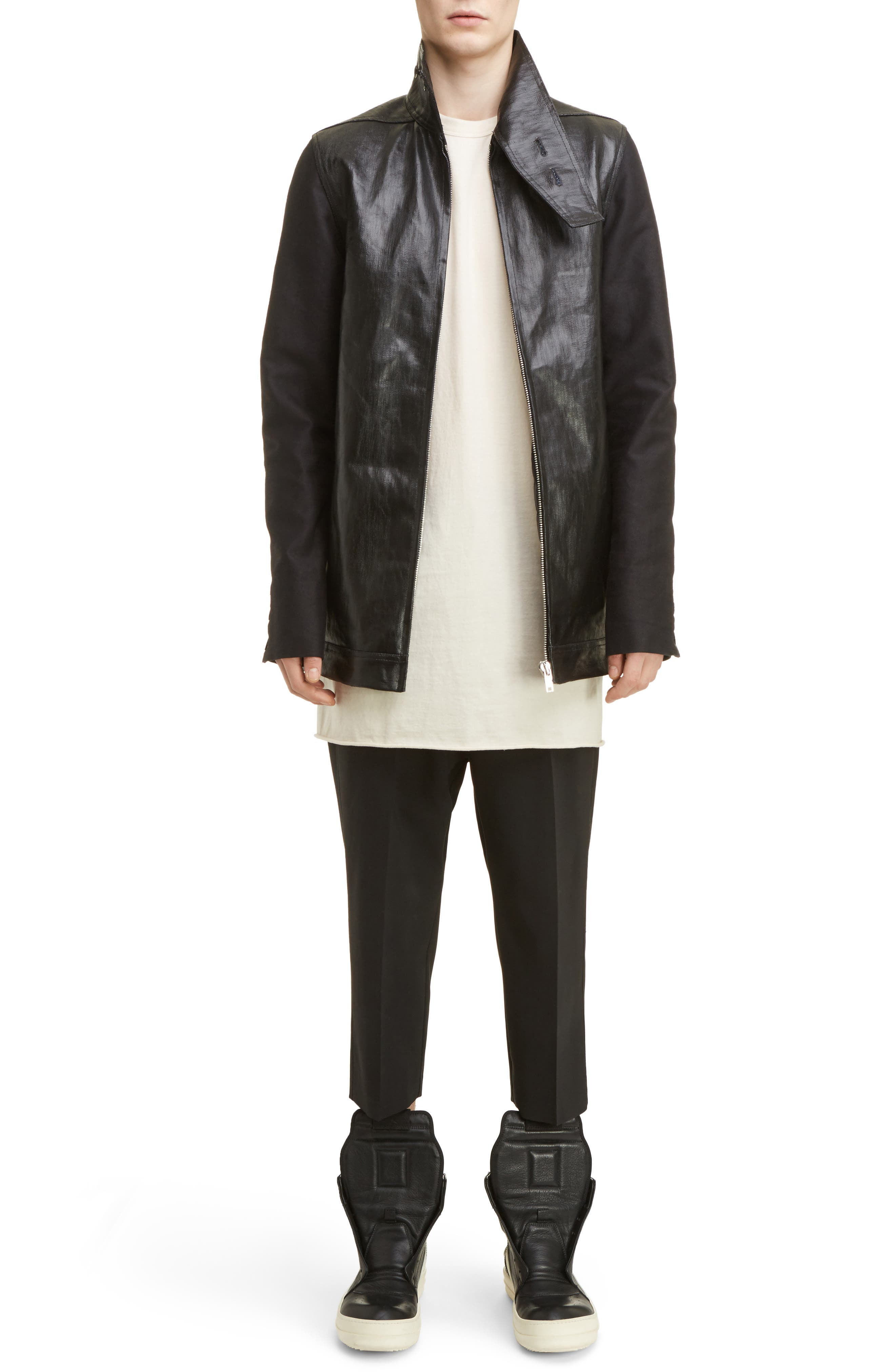 Cropped Wool Blend Pants,                             Alternate thumbnail 9, color,                             Black