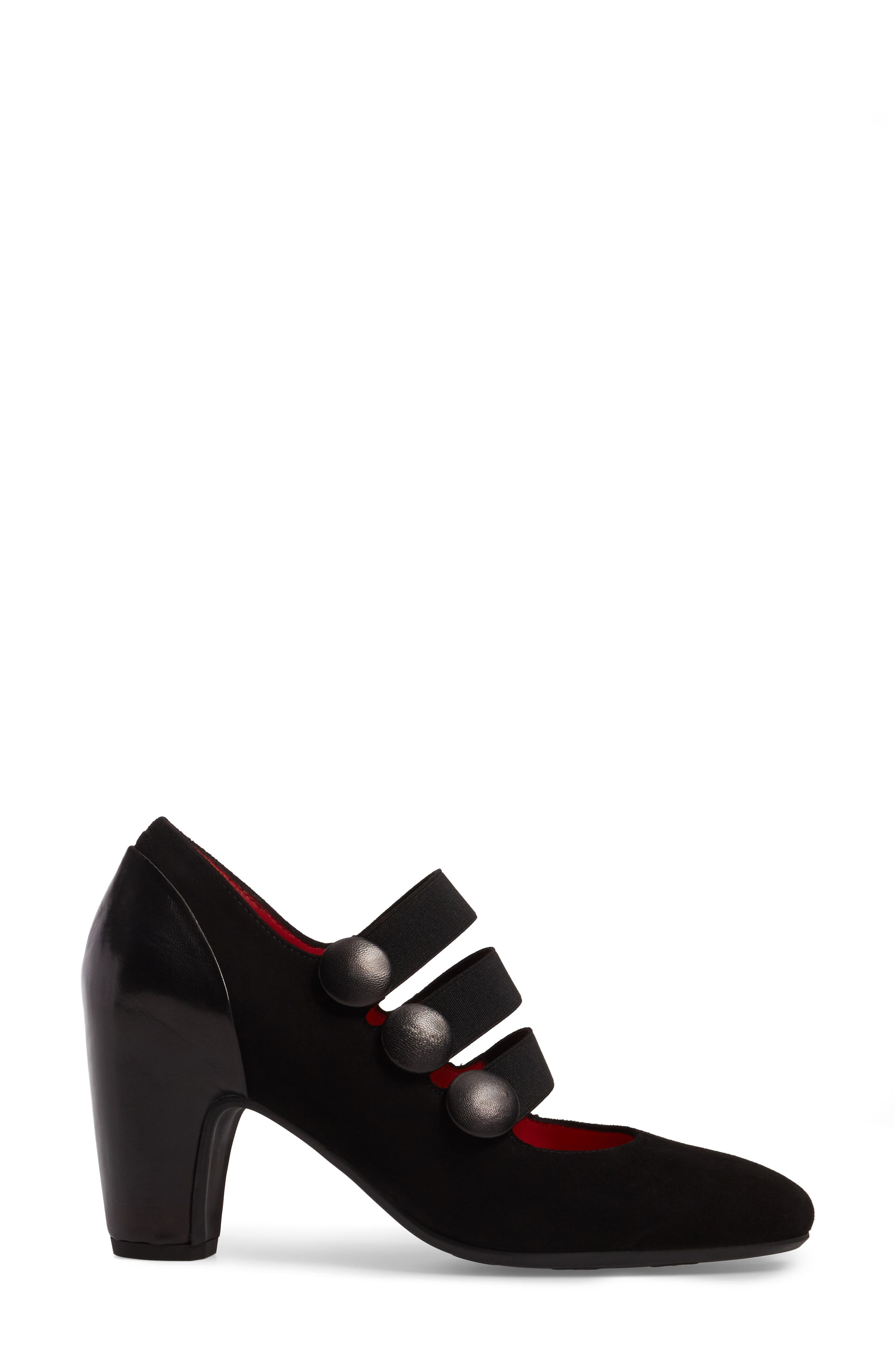 Strappy Mary Jane Pump,                             Alternate thumbnail 3, color,                             Black Suede/ Black Leather