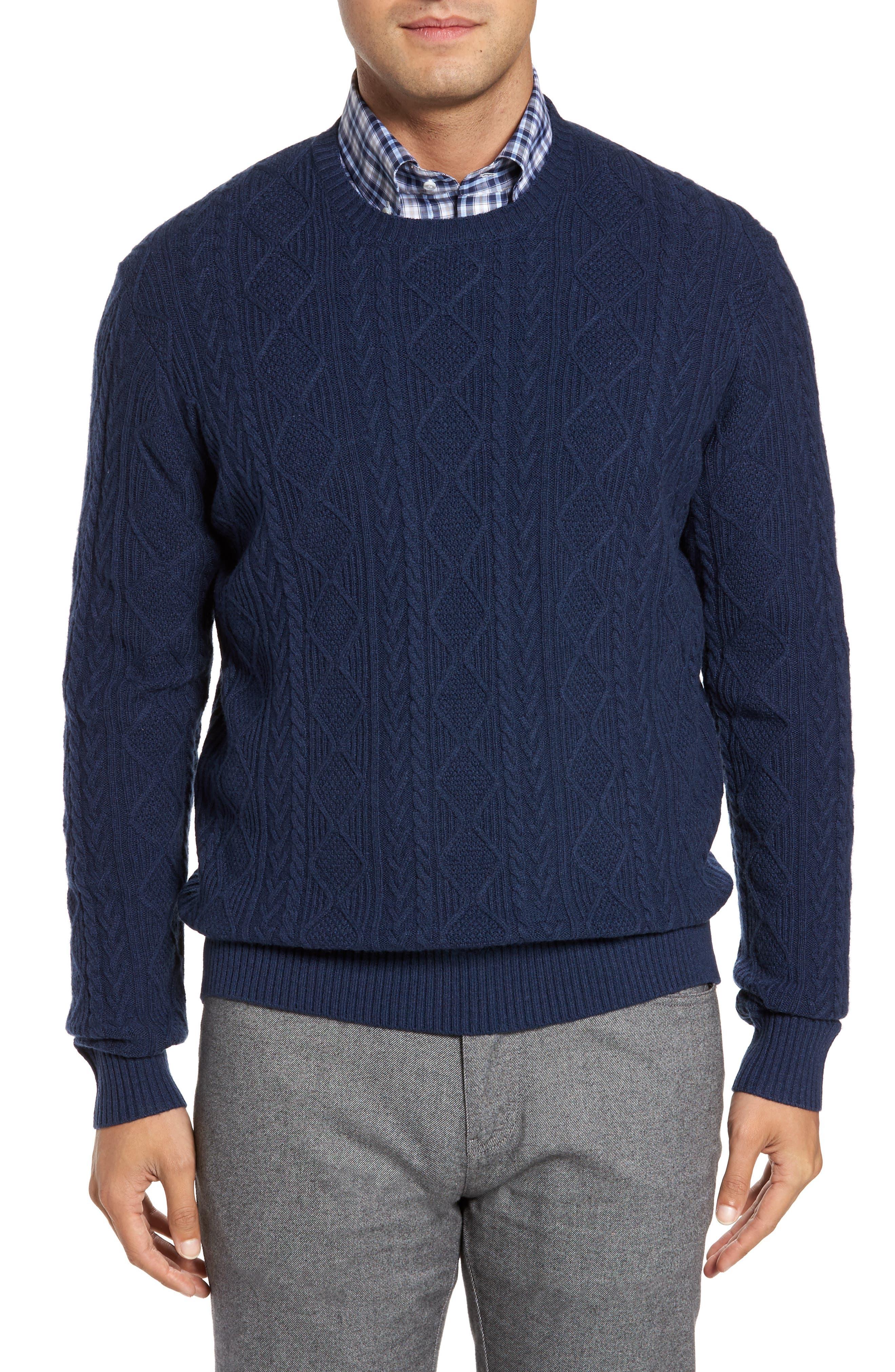 Main Image - Peter Millar Crown Wool Blend Fisherman Sweater