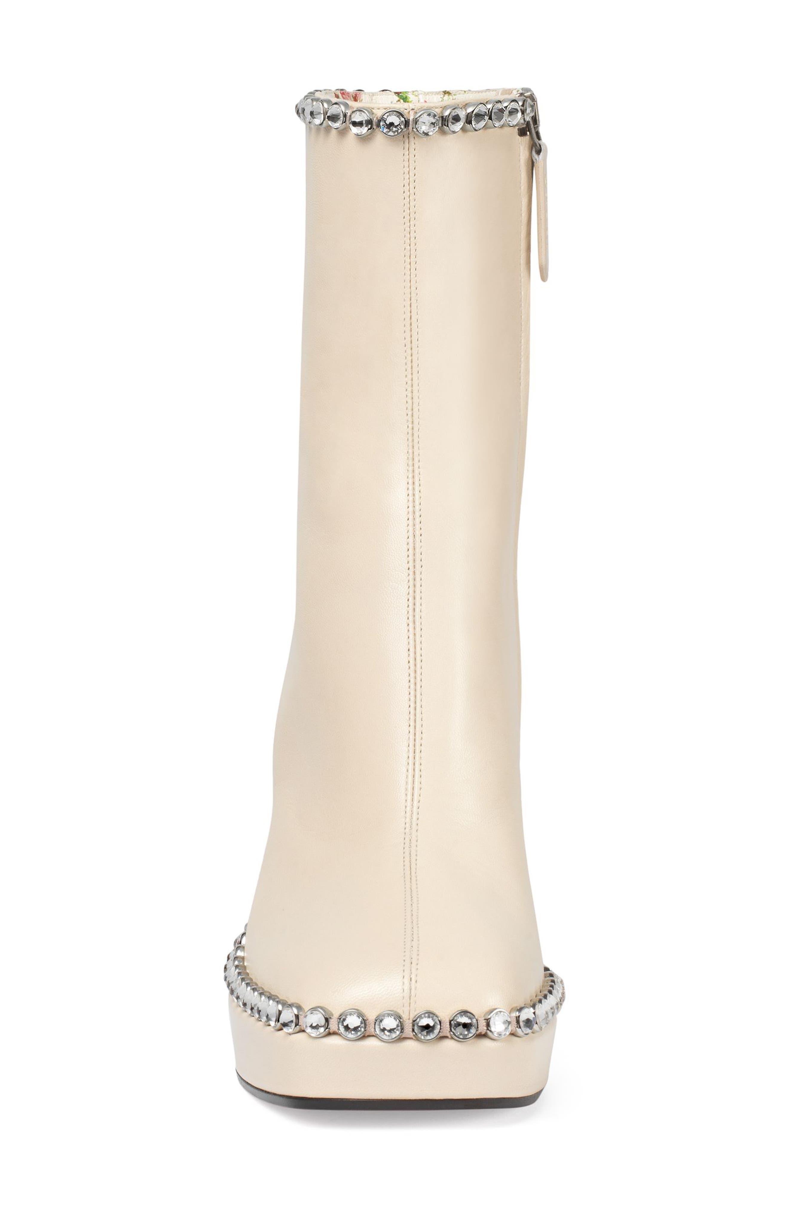Olimpia Crystal Embellished Platform Boot,                             Alternate thumbnail 3, color,                             White Leather
